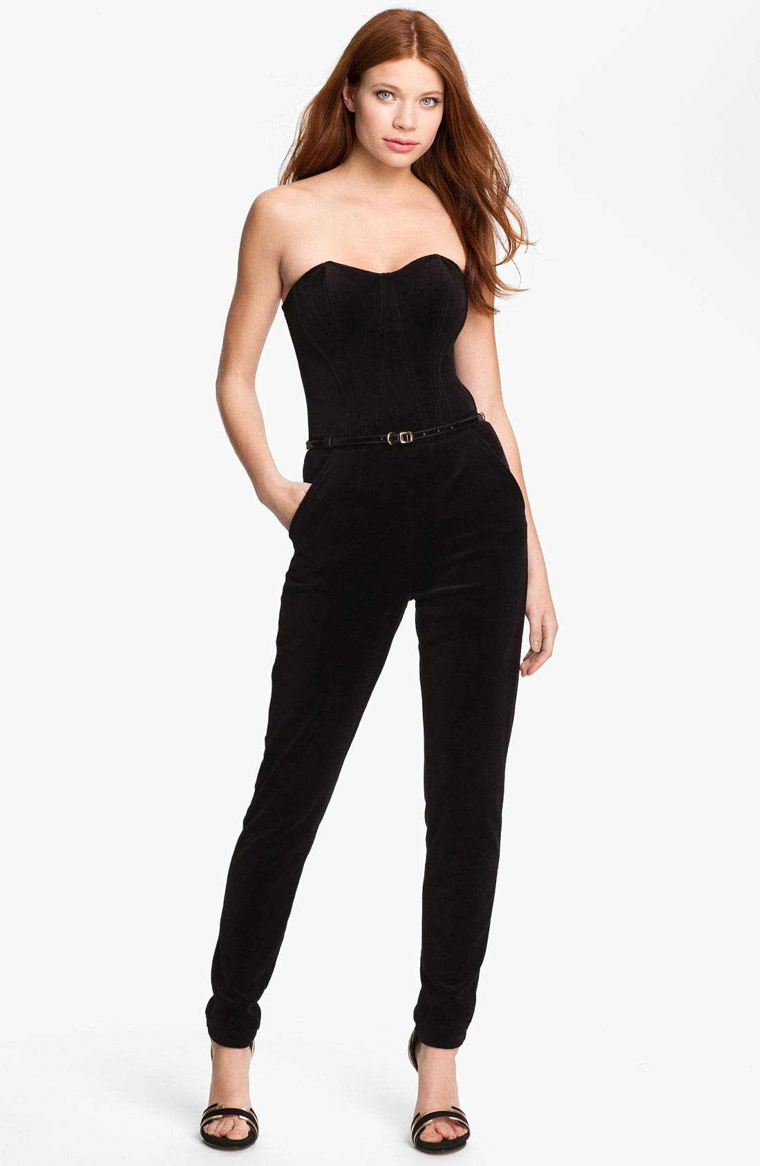 Main Image - Juicy Couture Strapless Velvet Jumpsuit