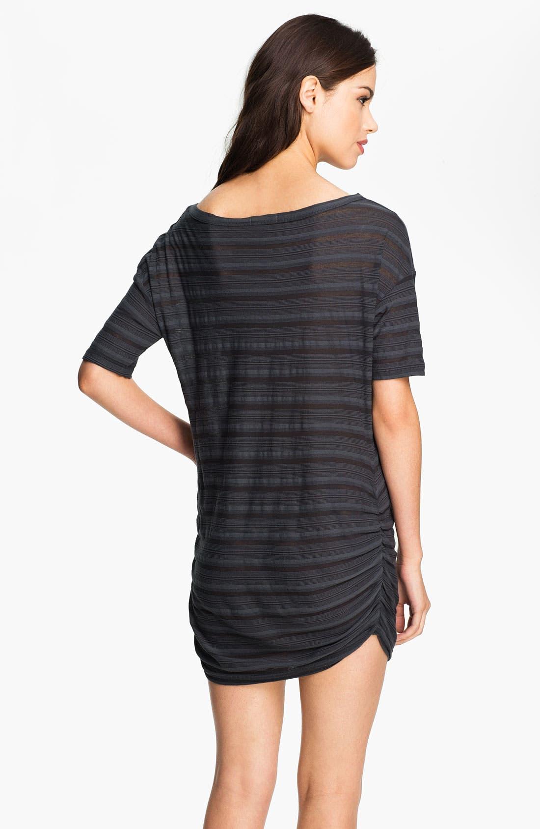 Alternate Image 2  - James Perse Sheer Stripe Ruched Tunic Dress
