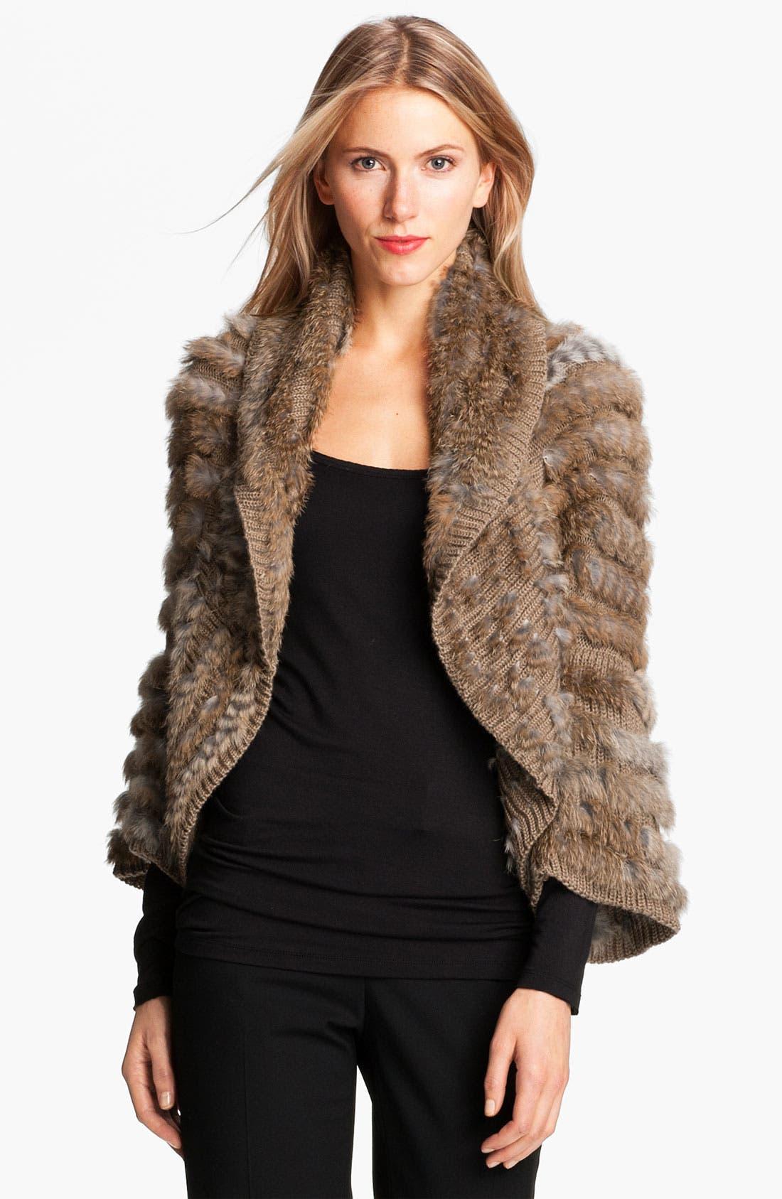 Main Image - Alberto Makali Knit & Genuine Rabbit Fur Shrug