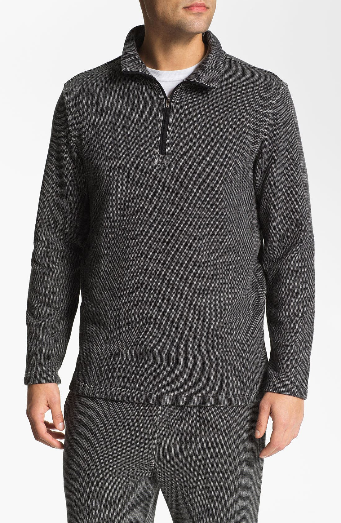 Alternate Image 1 Selected - Daniel Buchler Quarter Zip Textured Cotton Blend Sweatshirt