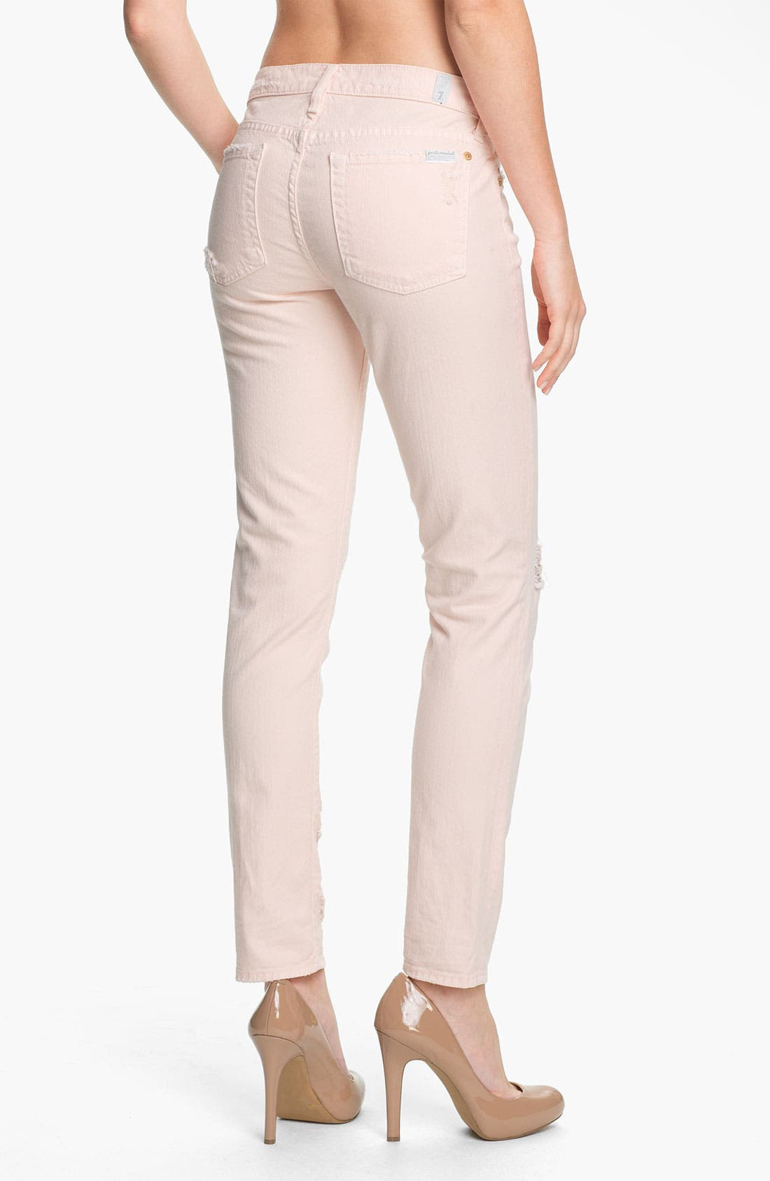 Alternate Image 2  - 7 For All Mankind® 'The Slim Cigarette' Stretch Jeans (Ballet Pink)