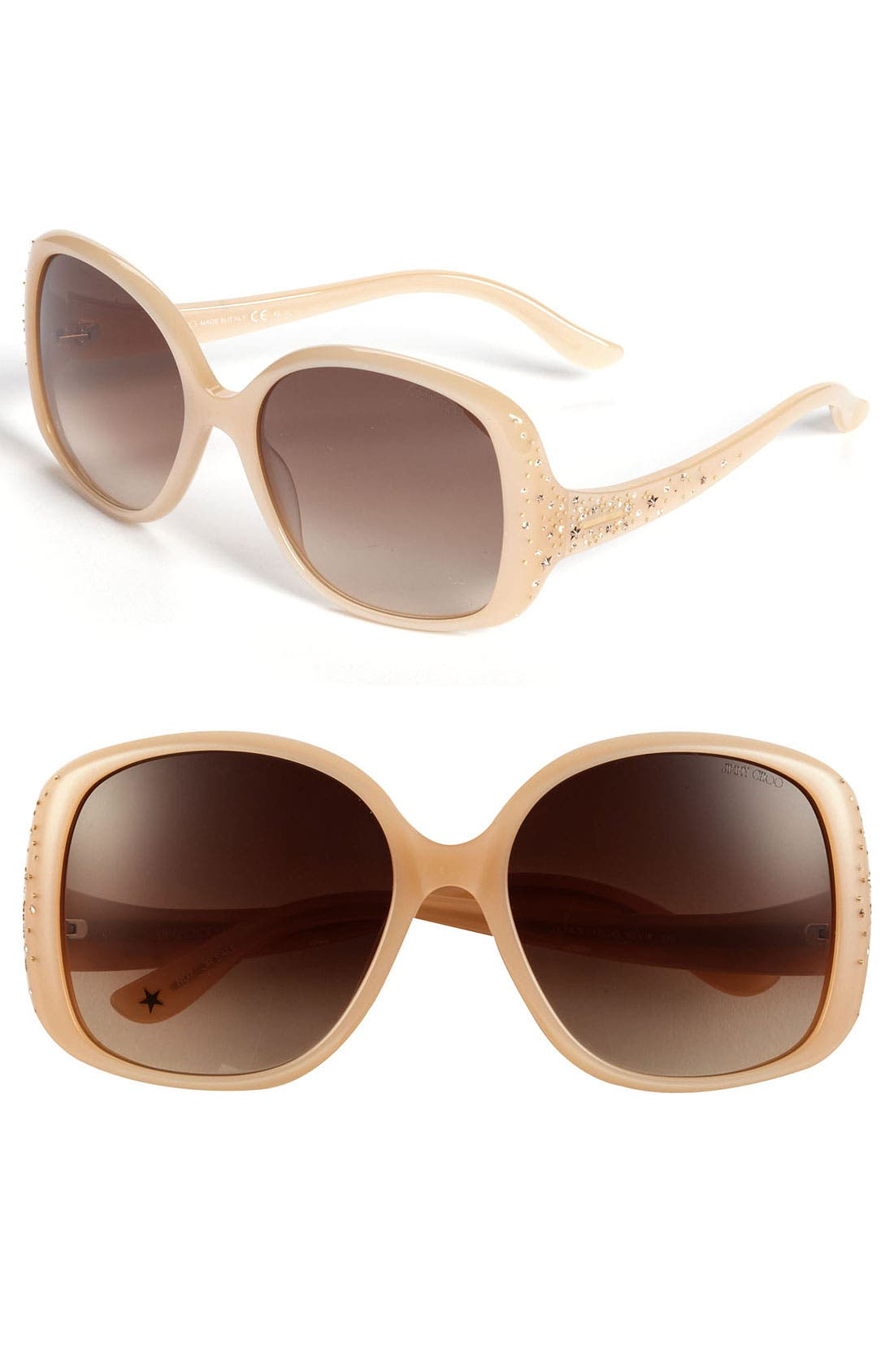 Main Image - Jimmy Choo 'Zeta' 58mm Crystal Temple Sunglasses