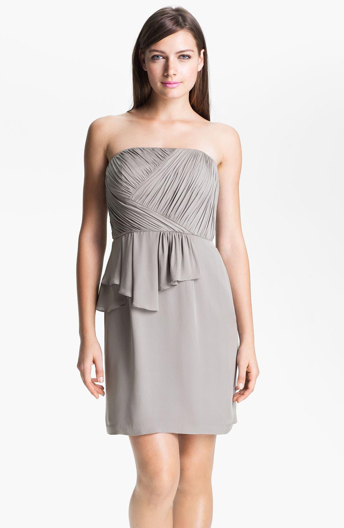 Alternate Image 1 Selected - Donna Morgan Ruched Asymmetrical Peplum Chiffon Dress