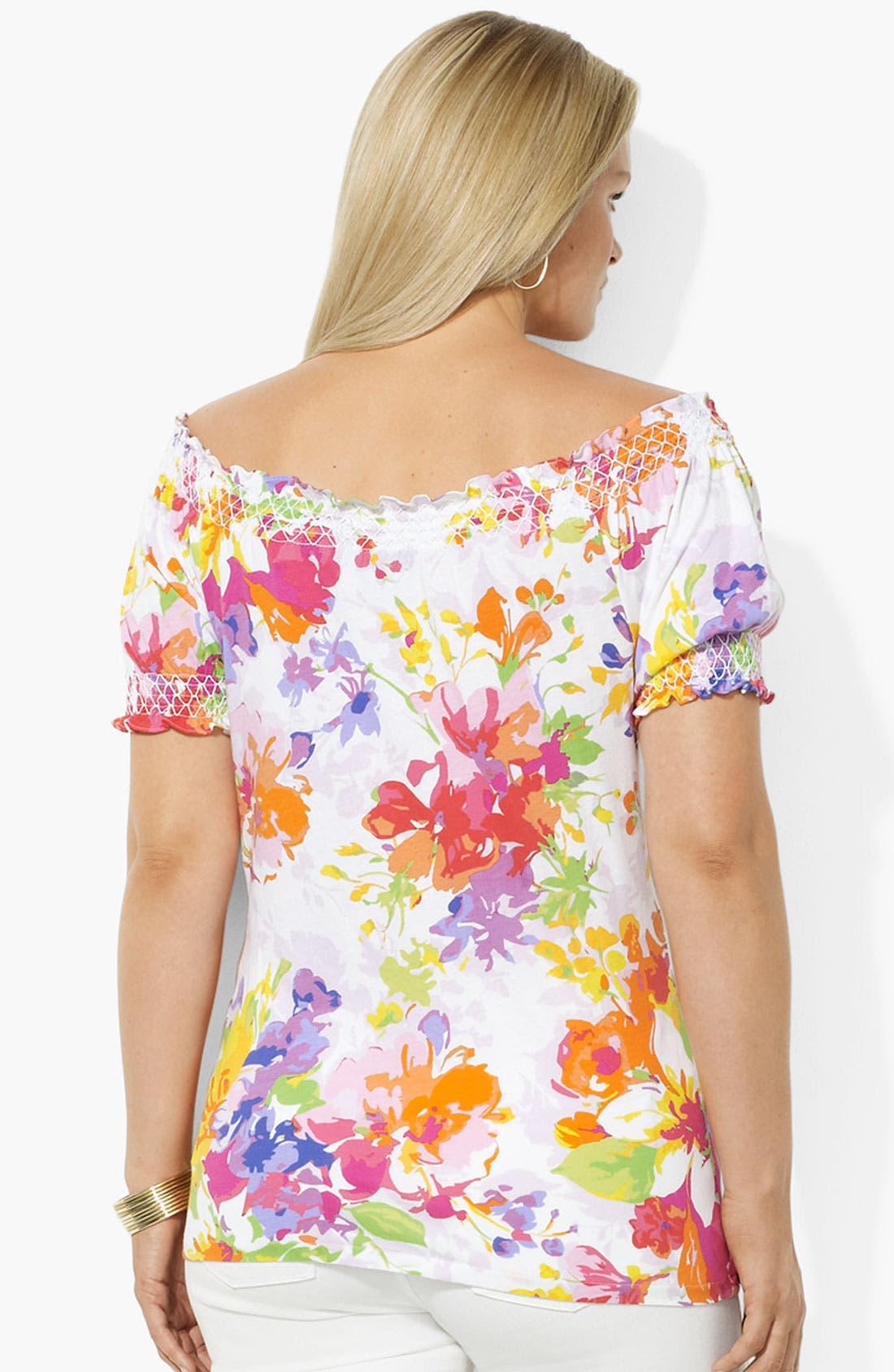 Alternate Image 2  - Lauren Ralph Lauren Floral Print Cotton Top (Plus)