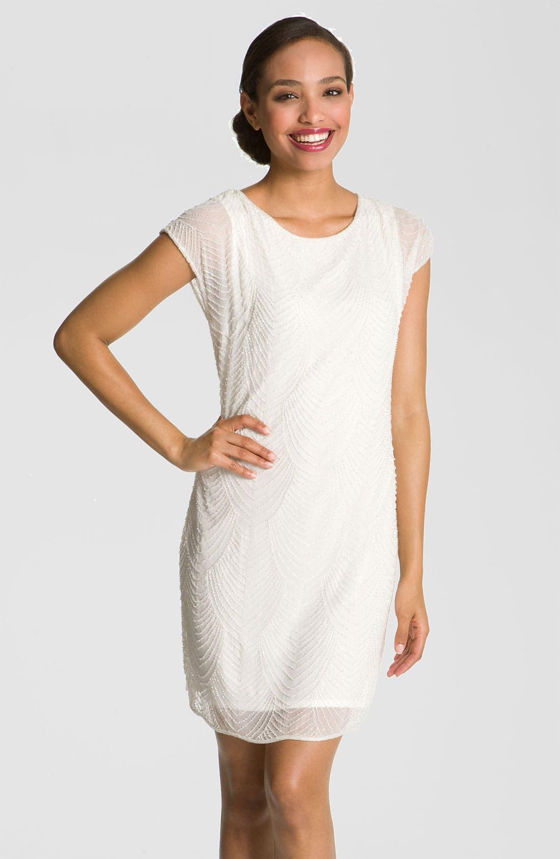 Main Image - Pisarro Nights Beaded Overlay Silk Chiffon Dress (Petite)