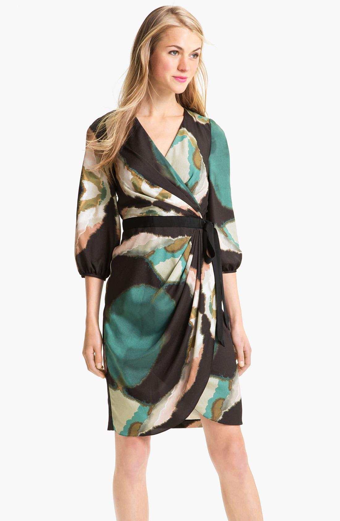 Main Image - Maggy London Pleat Front Crêpe de Chine Faux Wrap Dress (Petite)