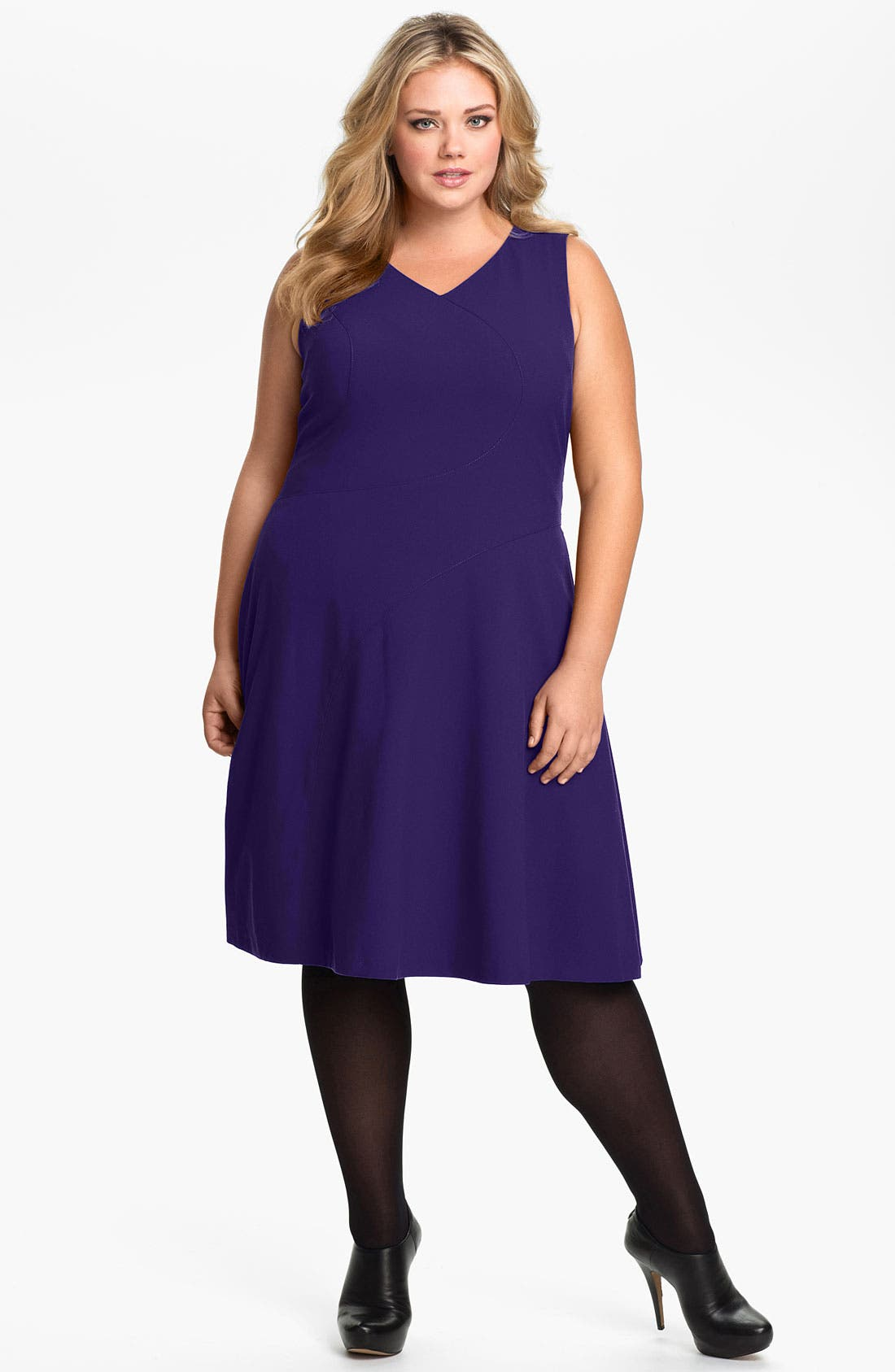 Alternate Image 1 Selected - Calvin Klein Sleeveless A-Line Jersey Dress (Plus)