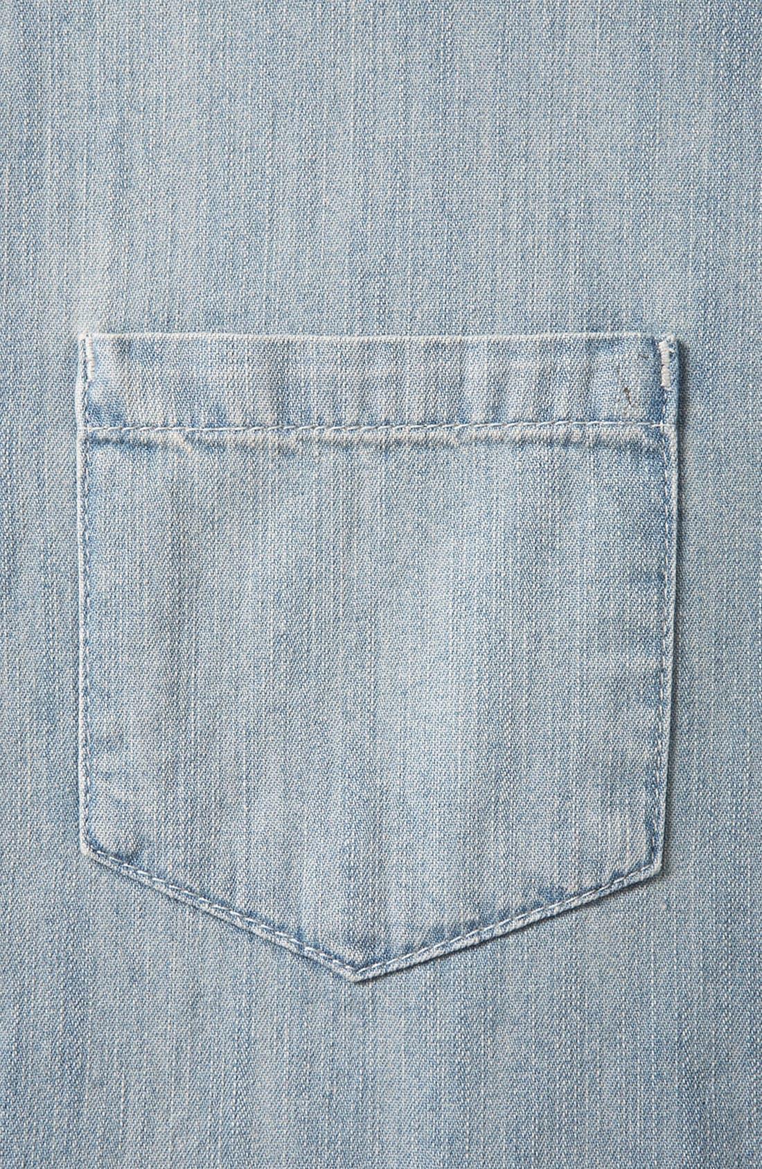 Alternate Image 4  - Topshop Moto Plaid Sleeve Chambray Shirt