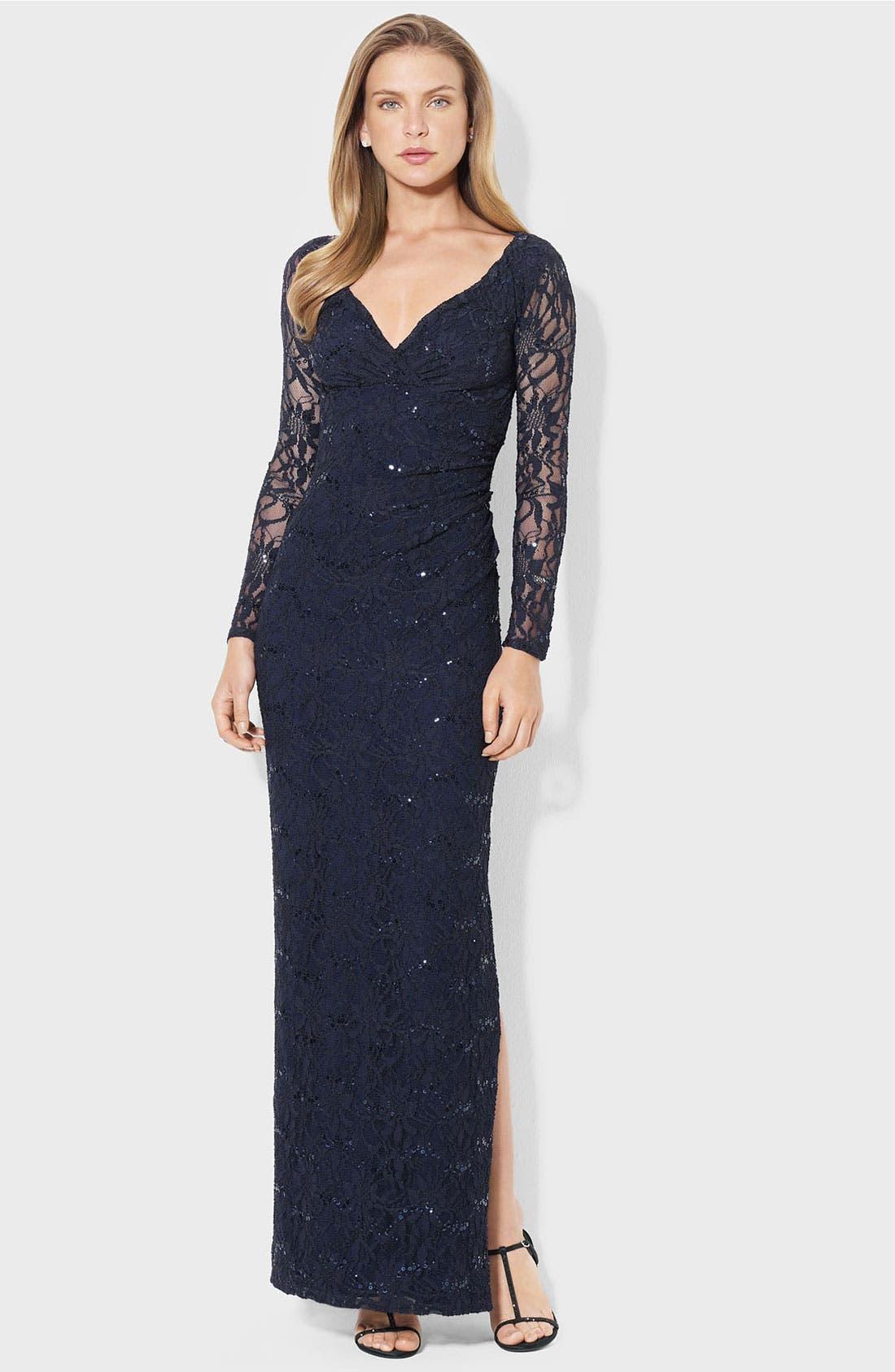 Main Image - Lauren Ralph Lauren Illusion Sleeve Lace Gown