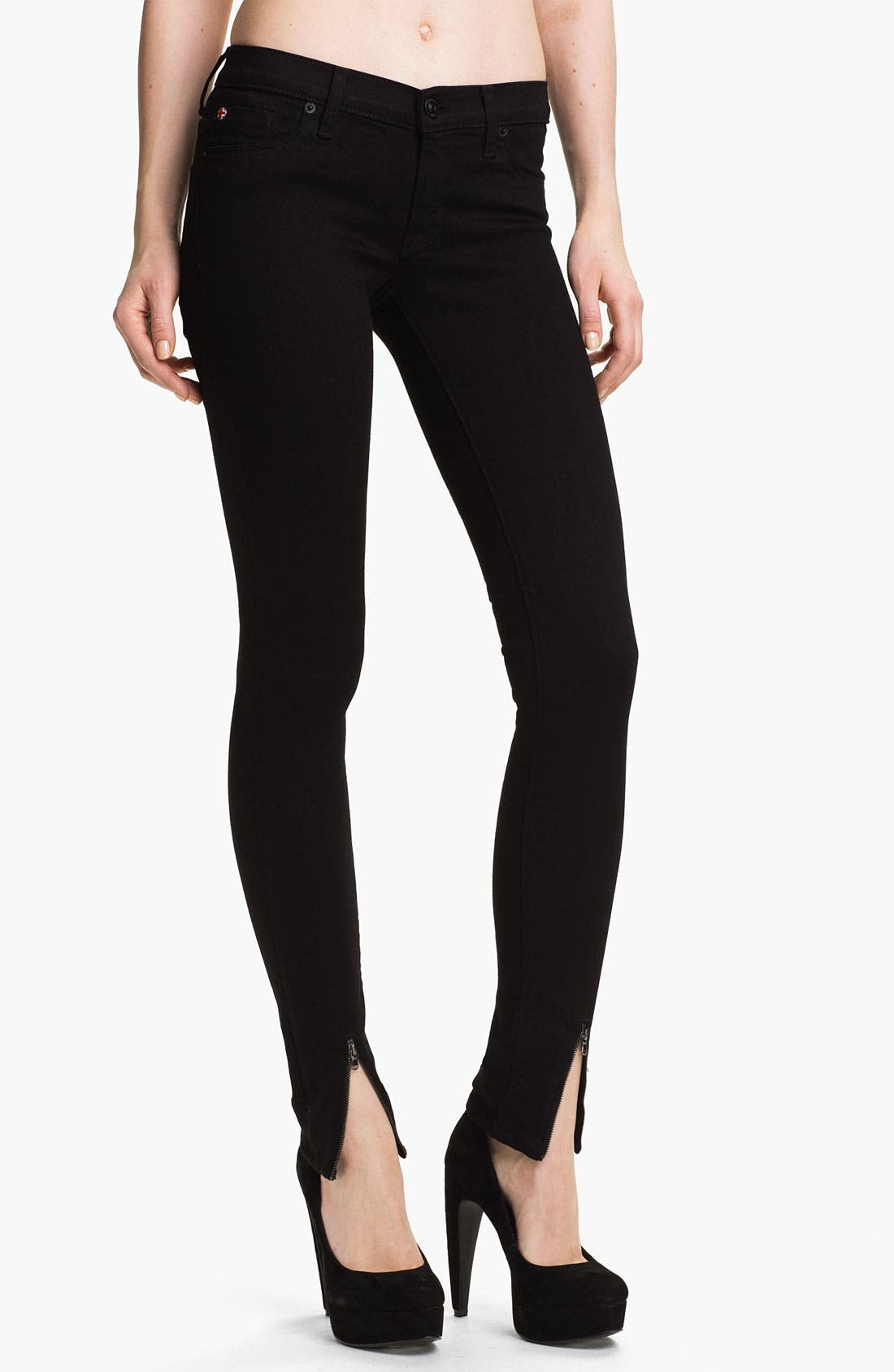 Alternate Image 1 Selected - Hudson Jeans 'Juliette' Ankle Zip Super Skinny Jeans (Black)
