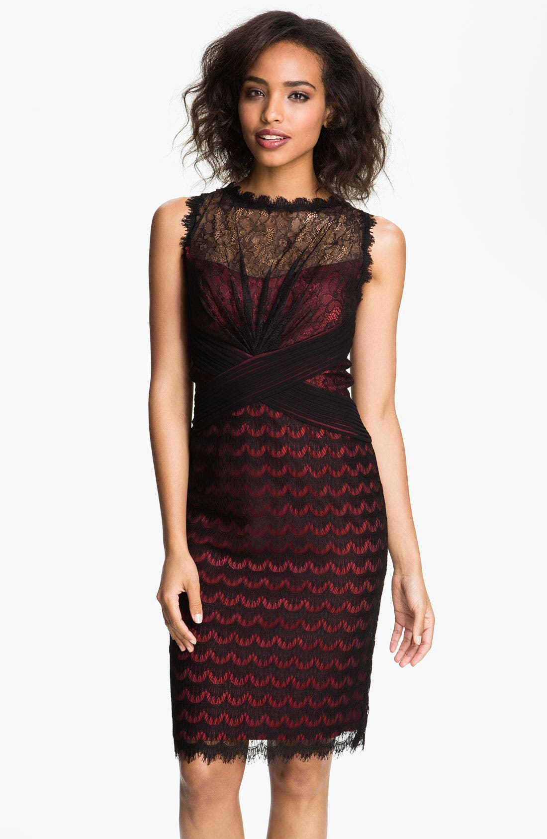 Alternate Image 1 Selected - Tadashi Shoji Illusion Yoke Scalloped Lace Overlay Dress