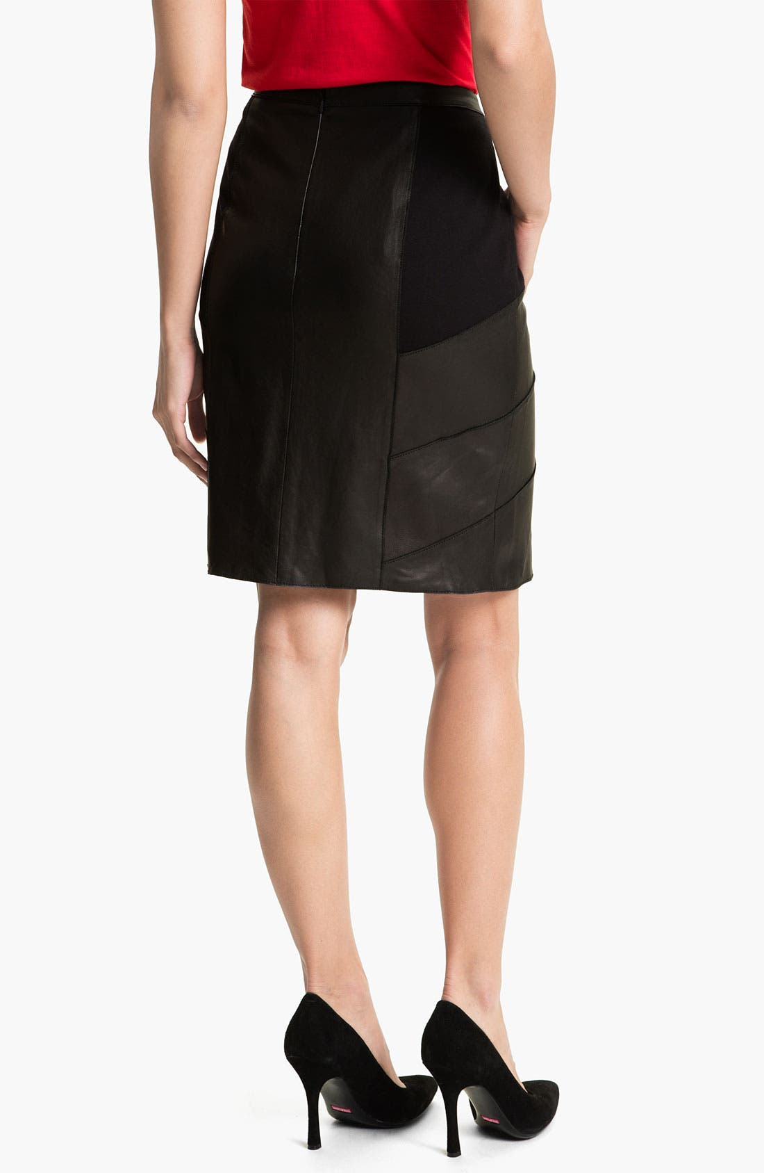 Alternate Image 2  - Halogen® Leather & Ponte Pencil Skirt (Petite)