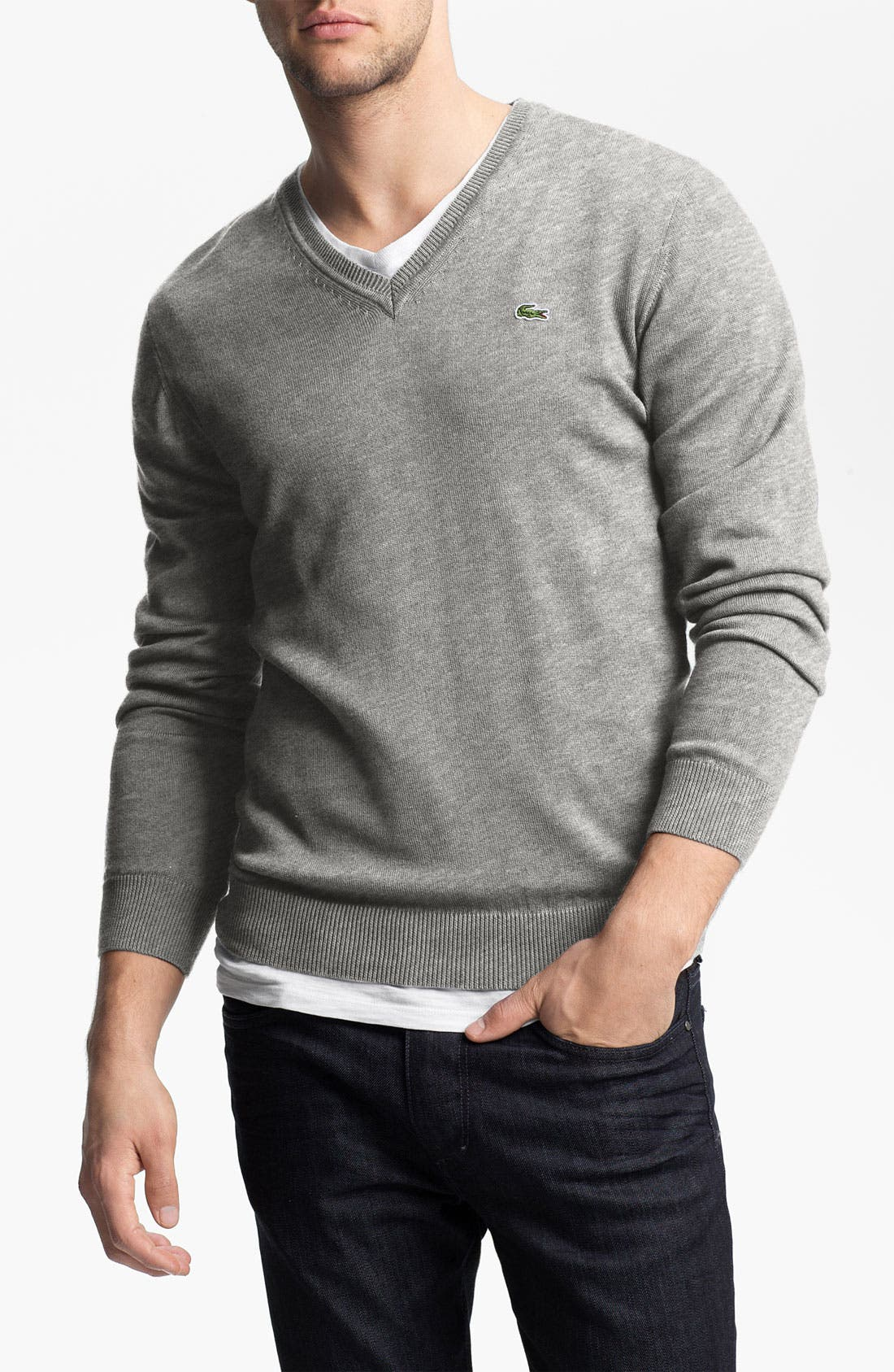 Main Image - Lacoste Jersey Cotton V-Neck Sweater