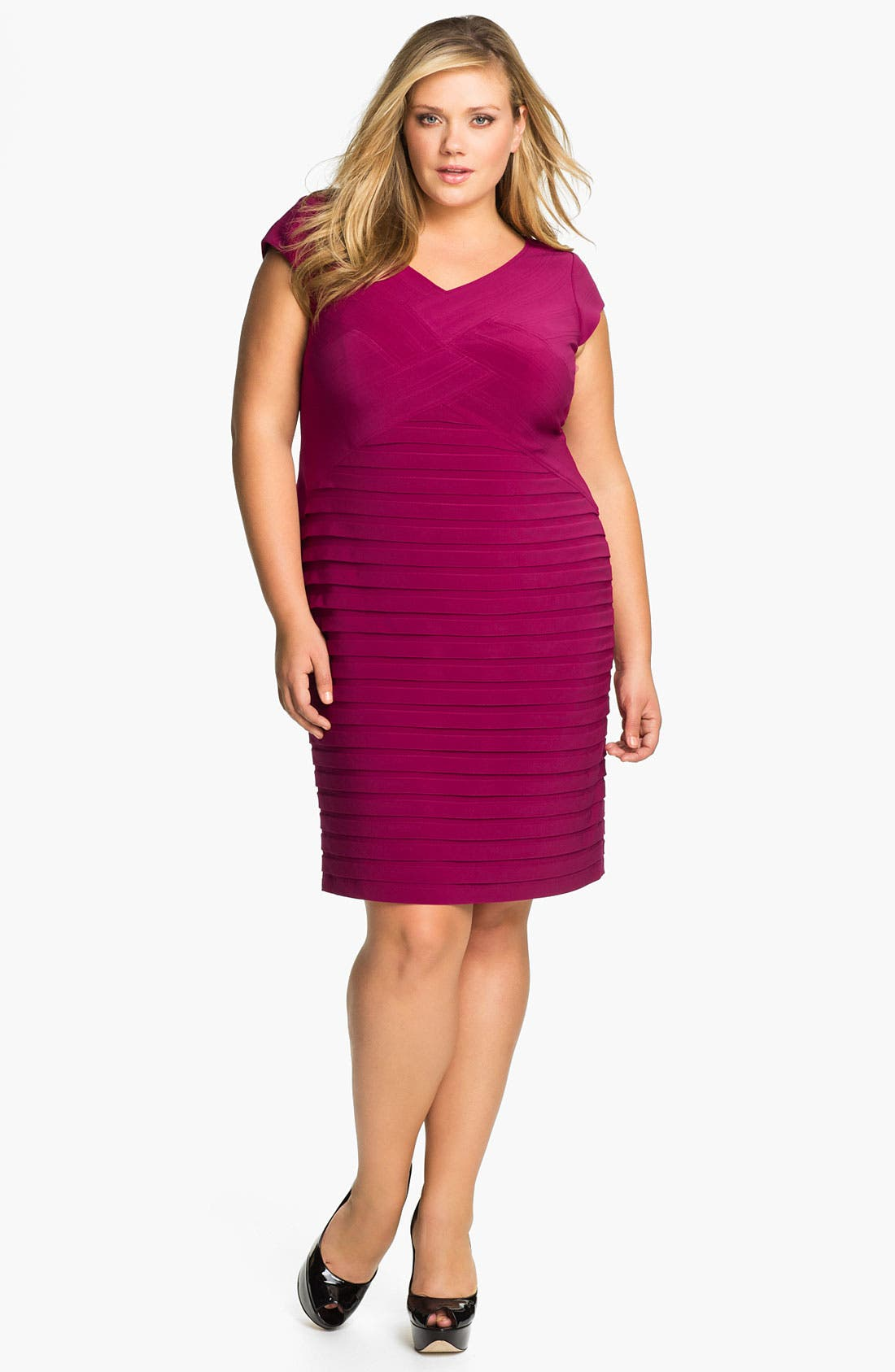 Main Image - Adrianna Papell Basket Weave Shutter Pleat Sheath Dress (Plus Size)