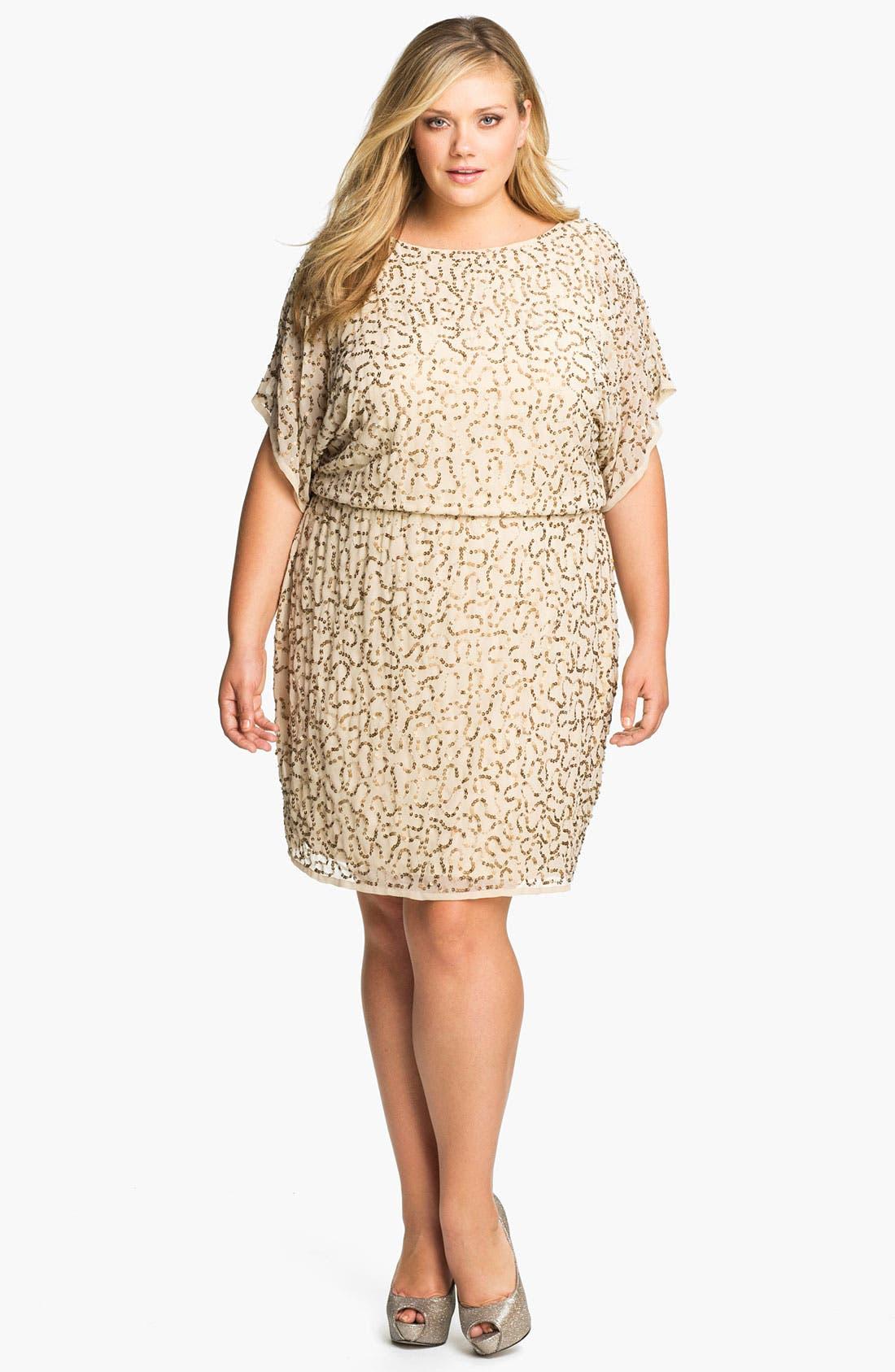 Main Image - Adrianna Papell Sequined Chiffon Blouson Dress (Plus)
