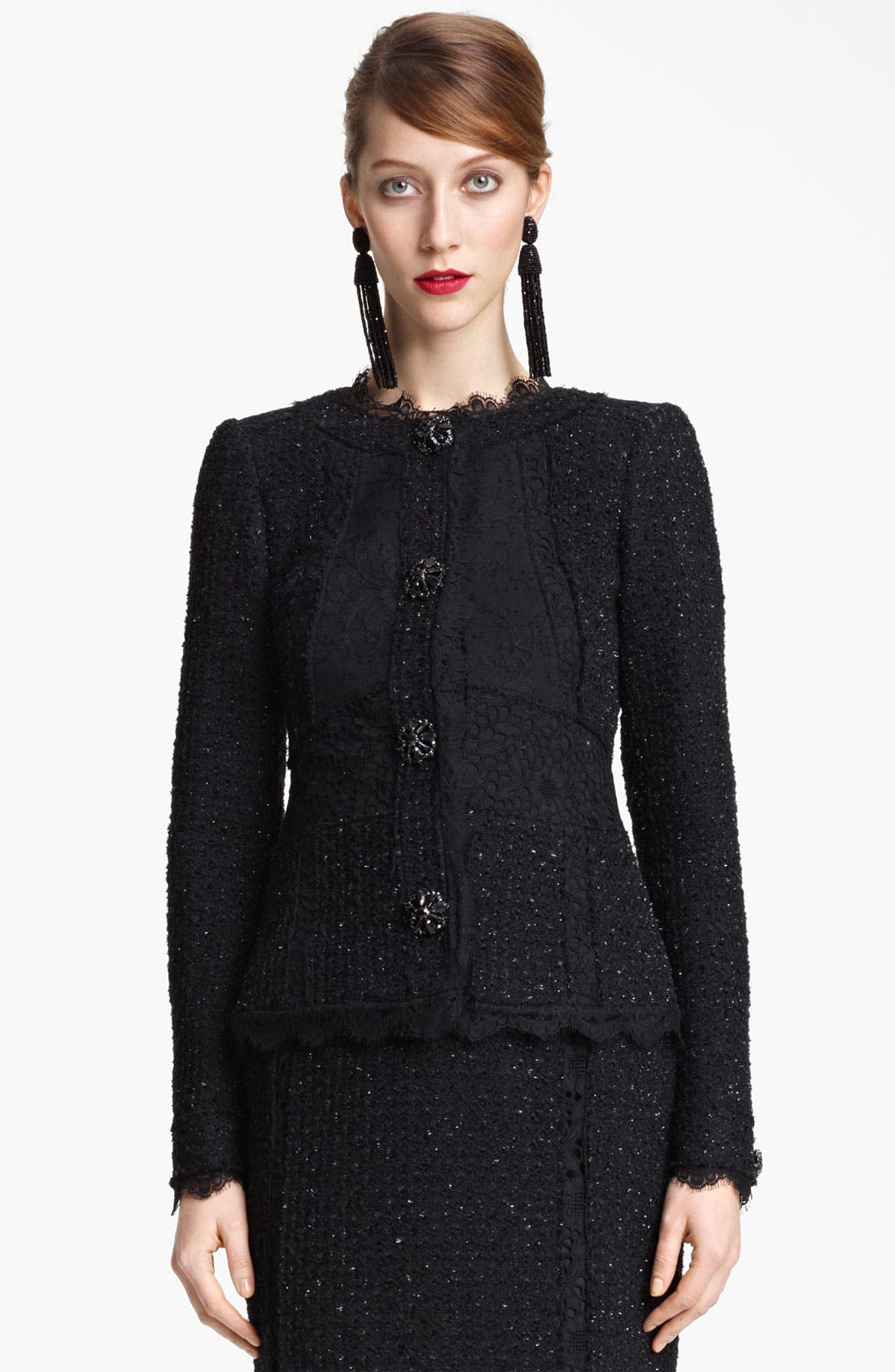 Alternate Image 1 Selected - Oscar de la Renta Lace & Tweed Jacket