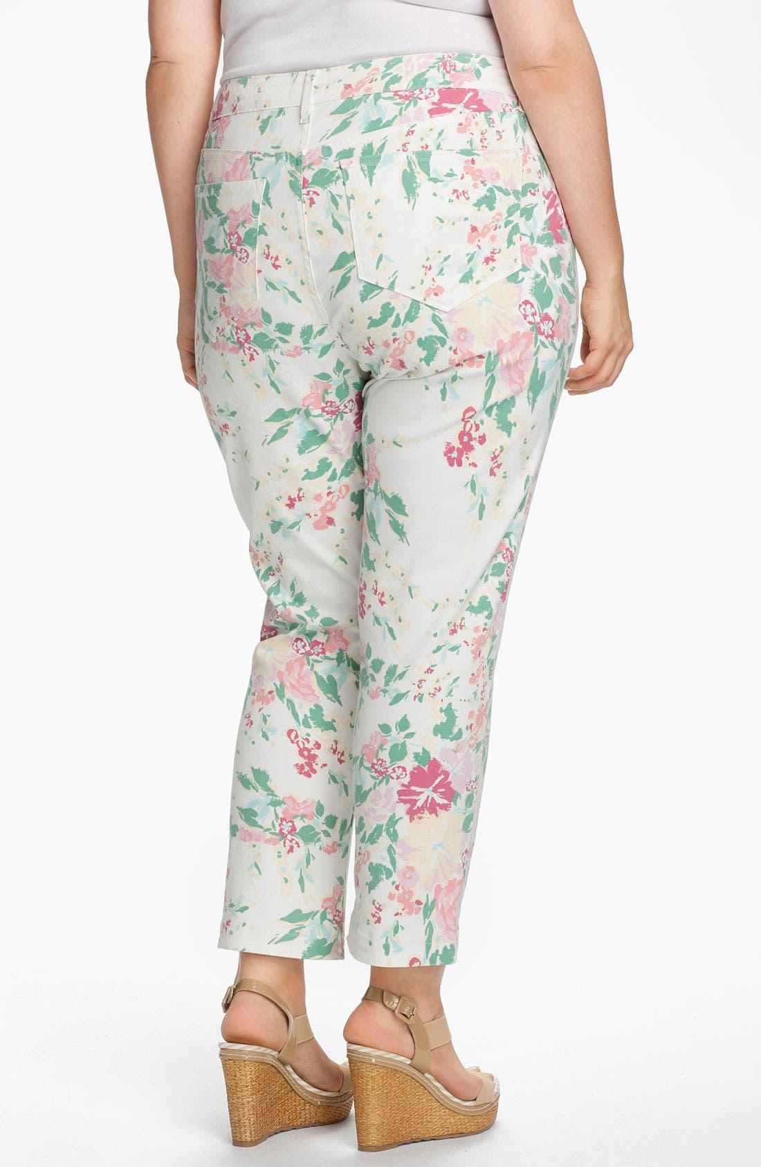 Alternate Image 2  - NYDJ 'Audrey' Floral Print Ankle Jeans (Plus)