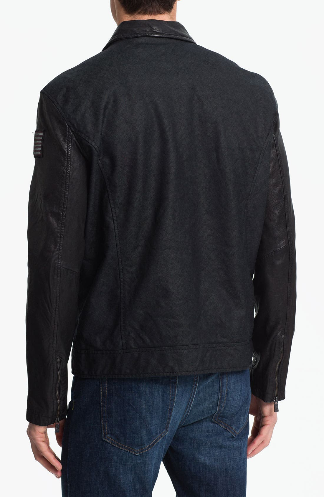 Alternate Image 2  - Denim & Leathers by Andrew Marc Denim Jacket with Leather Sleeves