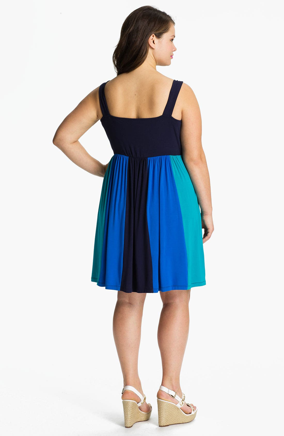 Alternate Image 2  - Calvin Klein Multicolor Sleeveless Jersey Dress (Plus Size)