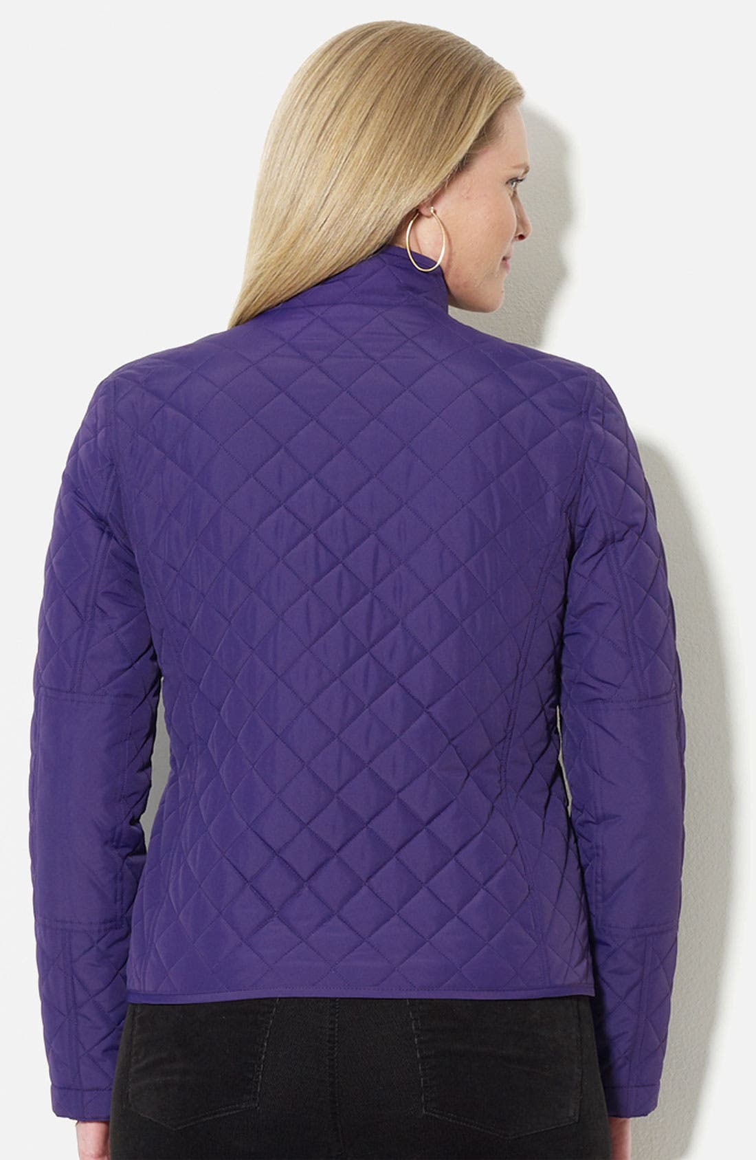 Alternate Image 2  - Lauren Ralph Lauren Quilted Stand Collar Jacket (Plus)