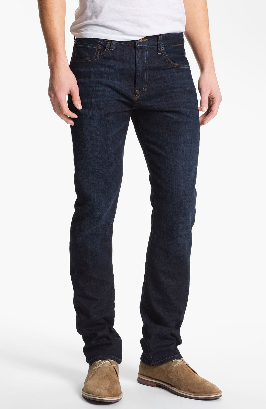 Alternate Image 1 Selected - Lucky Brand 'Dean' Straight Leg Jeans (Dark Stevie) (Online Only)