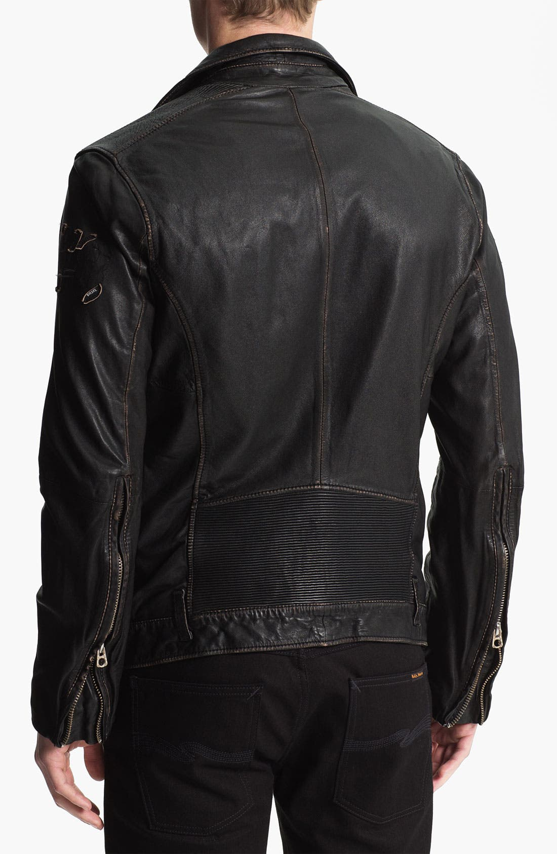 Alternate Image 2  - DIESEL® 'Lapismium' Coated Leather Moto Jacket