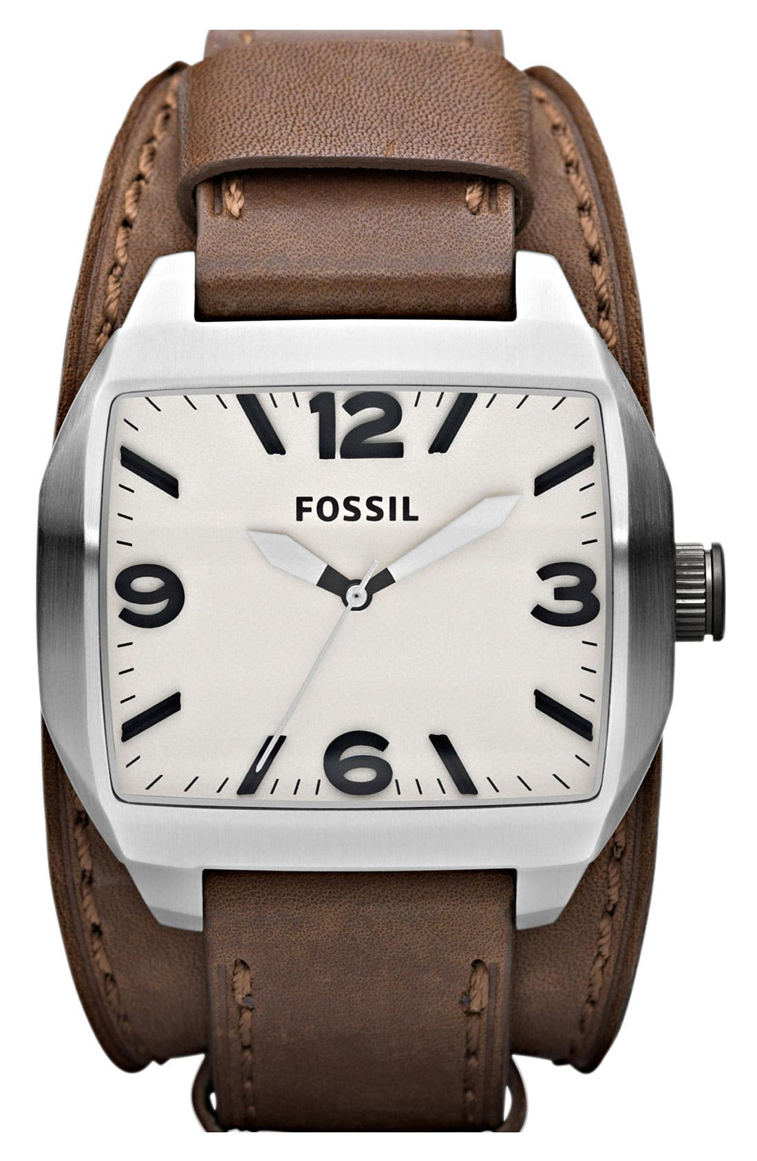 Main Image - Fossil 'Roland' Leather Cuff Watch, 38mm x 44mm