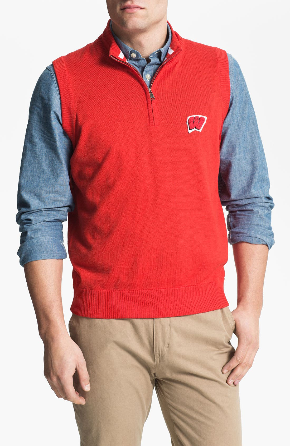 Alternate Image 1 Selected - WISCONSIN 1/4 ZIP SWEATER VEST