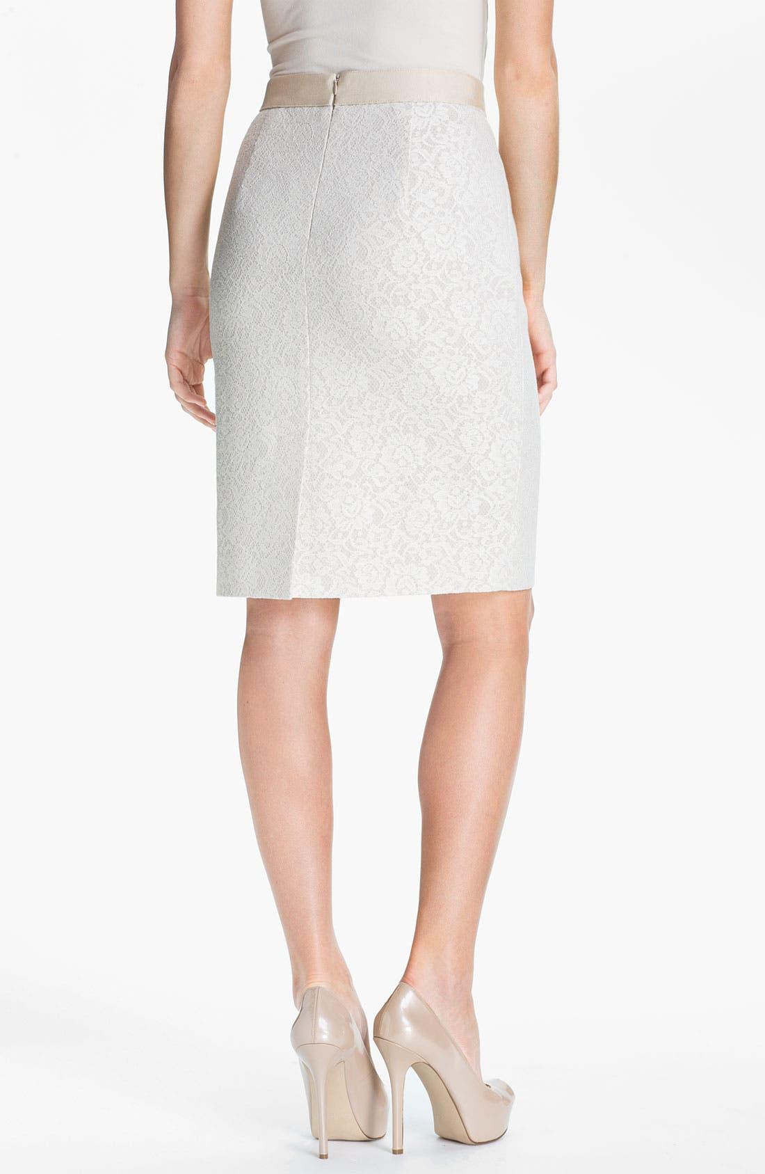 Alternate Image 2  - Classiques Entier® Bonded Lace Pencil Skirt