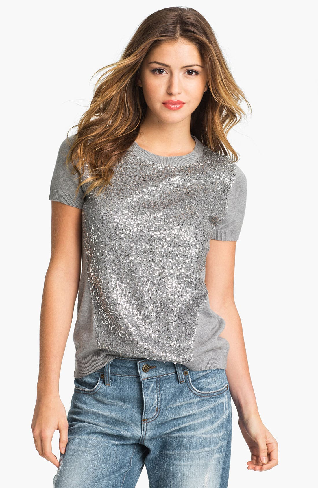 Alternate Image 1 Selected - Vince Camuto Short Sleeve Sequin Sweater