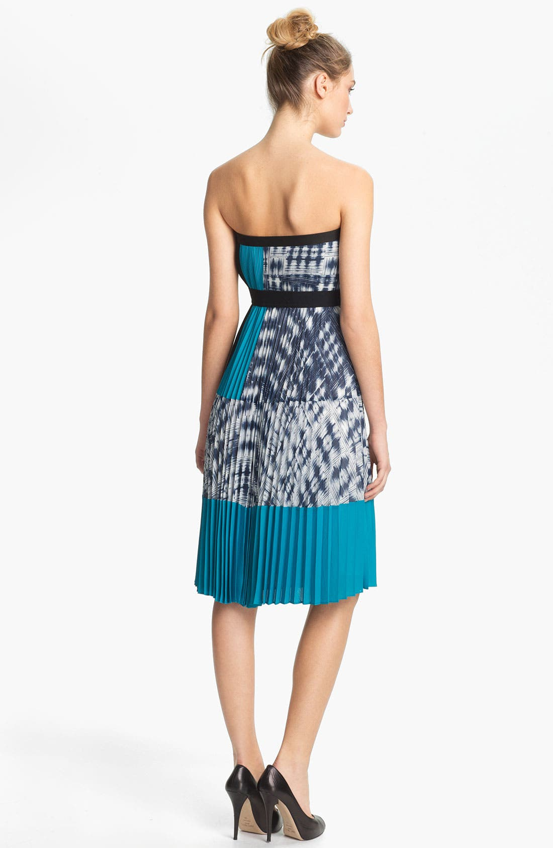 Alternate Image 2  - BCBGMAXAZRIA Strapless Pleated Crepe Dress