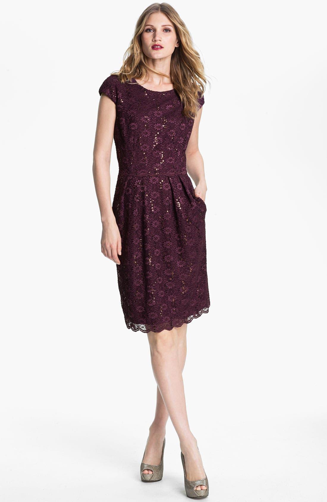 Main Image - Alex Evenings Sequin Lace Overlay Sheath Dress (Petite)