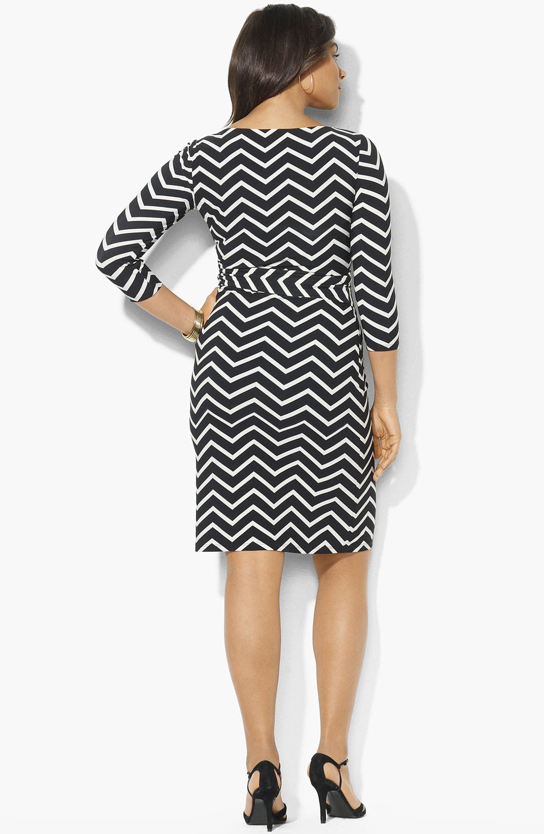 Alternate Image 2  - Lauren Ralph Lauren Print Side Tie Matte Jersey Dress (Plus)