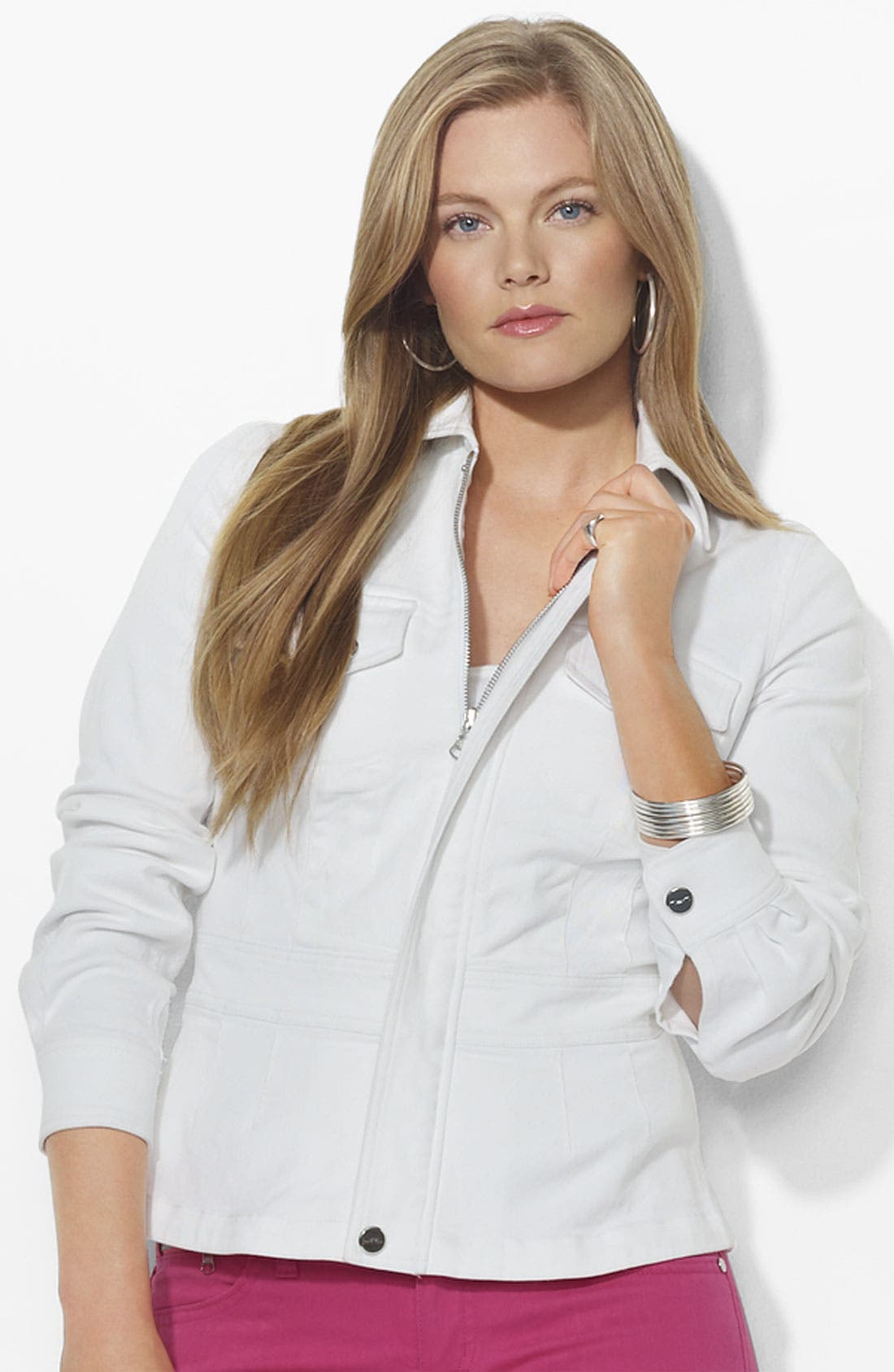 Alternate Image 1 Selected - Lauren Ralph Lauren Fitted Stretch Denim Jacket (Plus)