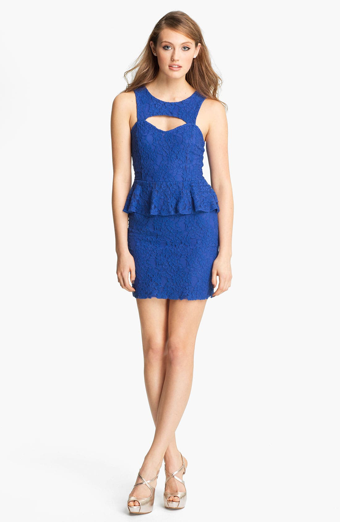 Alternate Image 1  - Fire Peplum Lace Body-Con Dress (Juniors)
