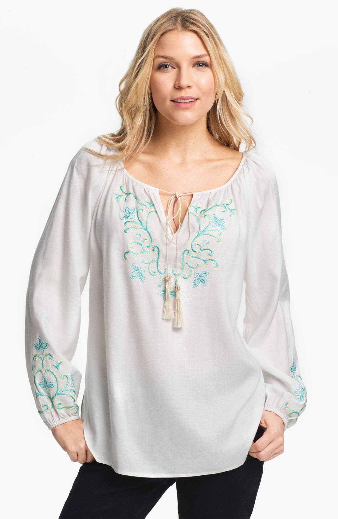 Alternate Image 1 Selected - Karen Kane Tassel Tie Embroidered Blouse