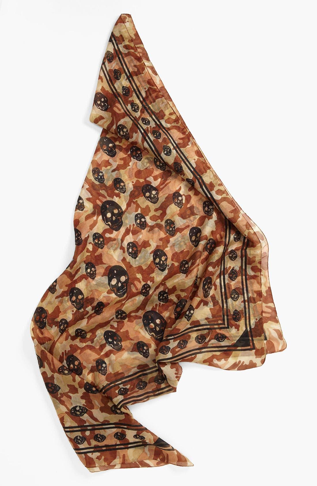 Main Image - Raj Imports Skull & Camo Print Silk Scarf