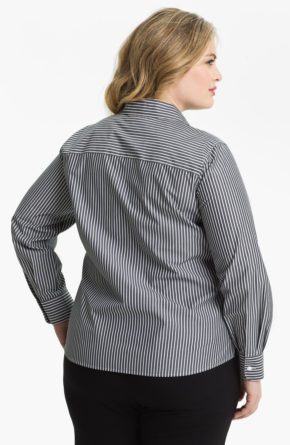 Alternate Image 2  - Foxcroft Stripe Shaped Shirt (Plus)