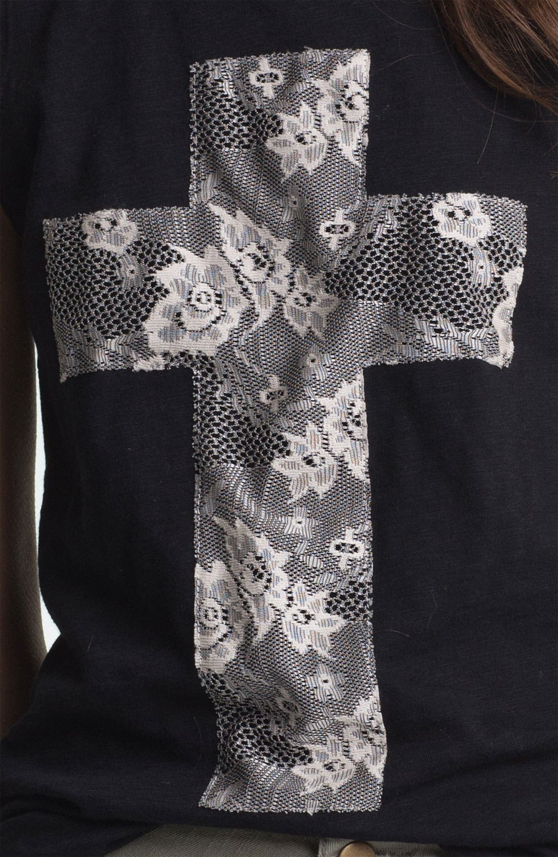 Alternate Image 4  - Ten Sixty Sherman Lace Cross Appliqué Tank (Juniors)
