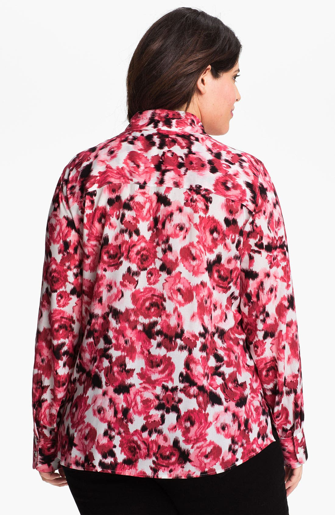 Alternate Image 2  - Foxcroft Rose Print Shirt (Plus Size)