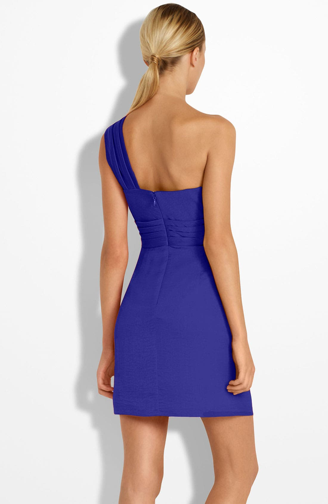 Alternate Image 2  - BCBGMAXAZRIA Drape Front One-Shoulder Satin Dress