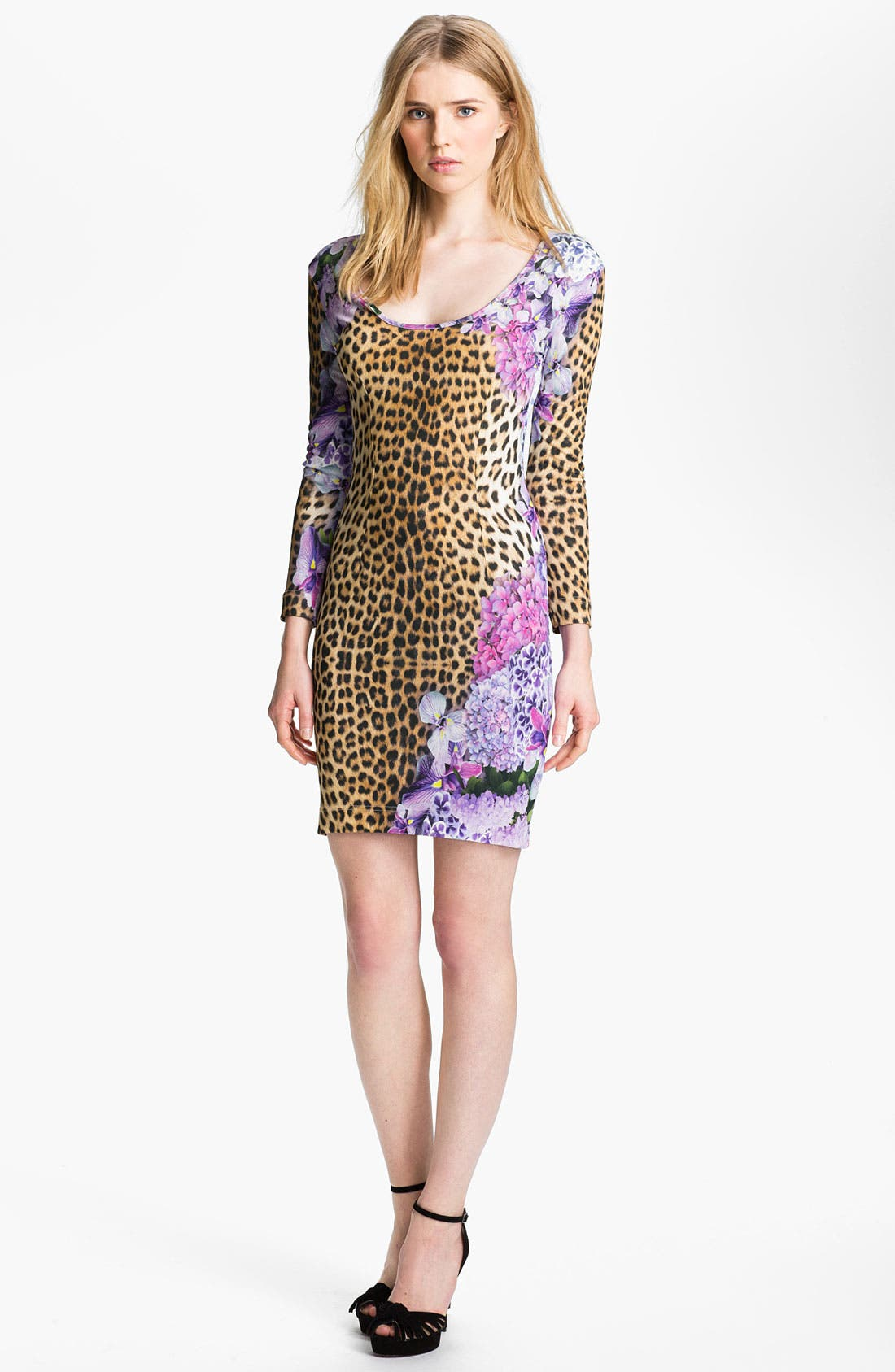 Main Image - Just Cavalli Leopard & Floral Print Jersey Dress