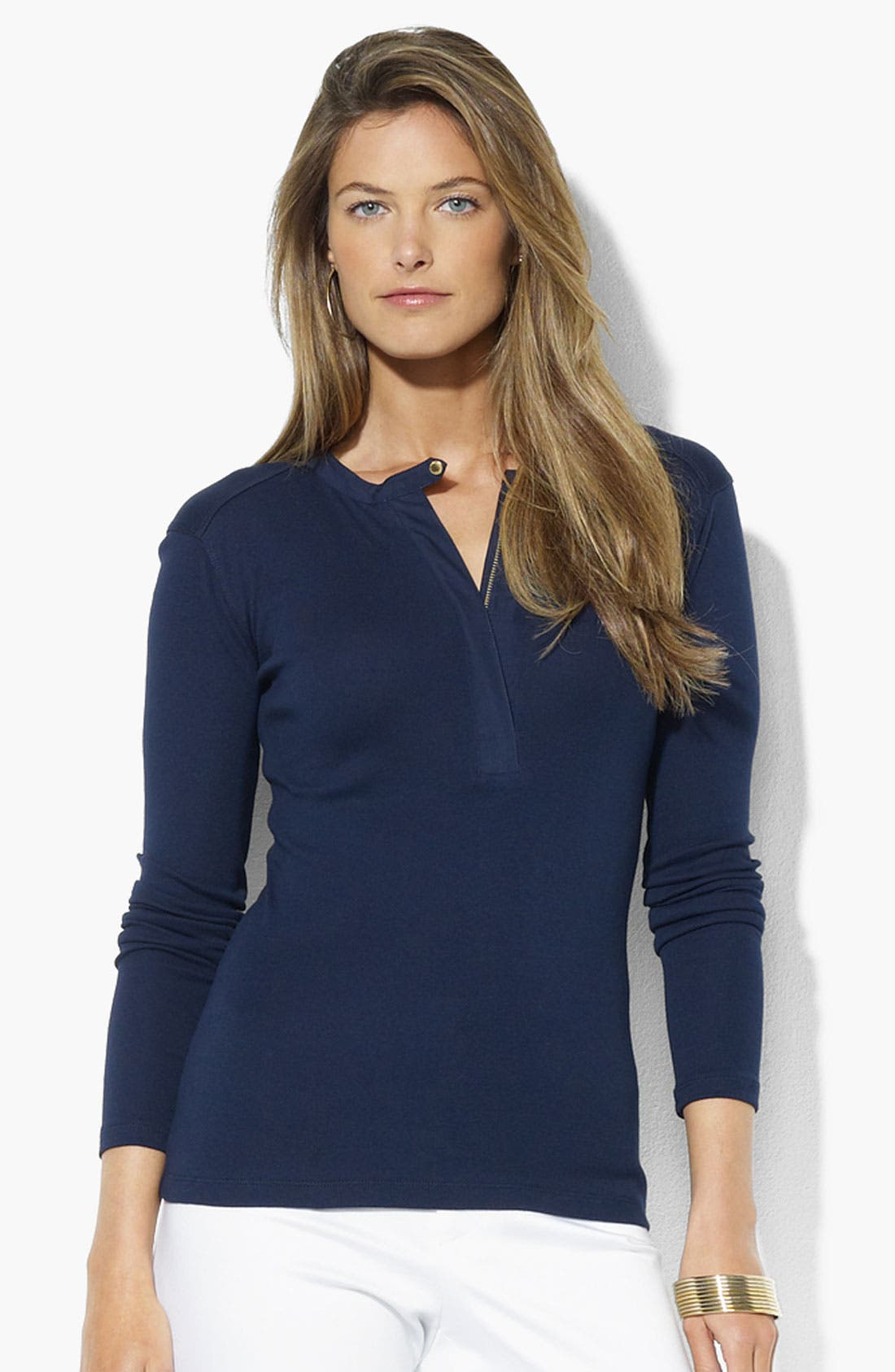 Alternate Image 1 Selected - Lauren Ralph Lauren Half Zip Crewneck Top (Petite) (Online Exclusive)