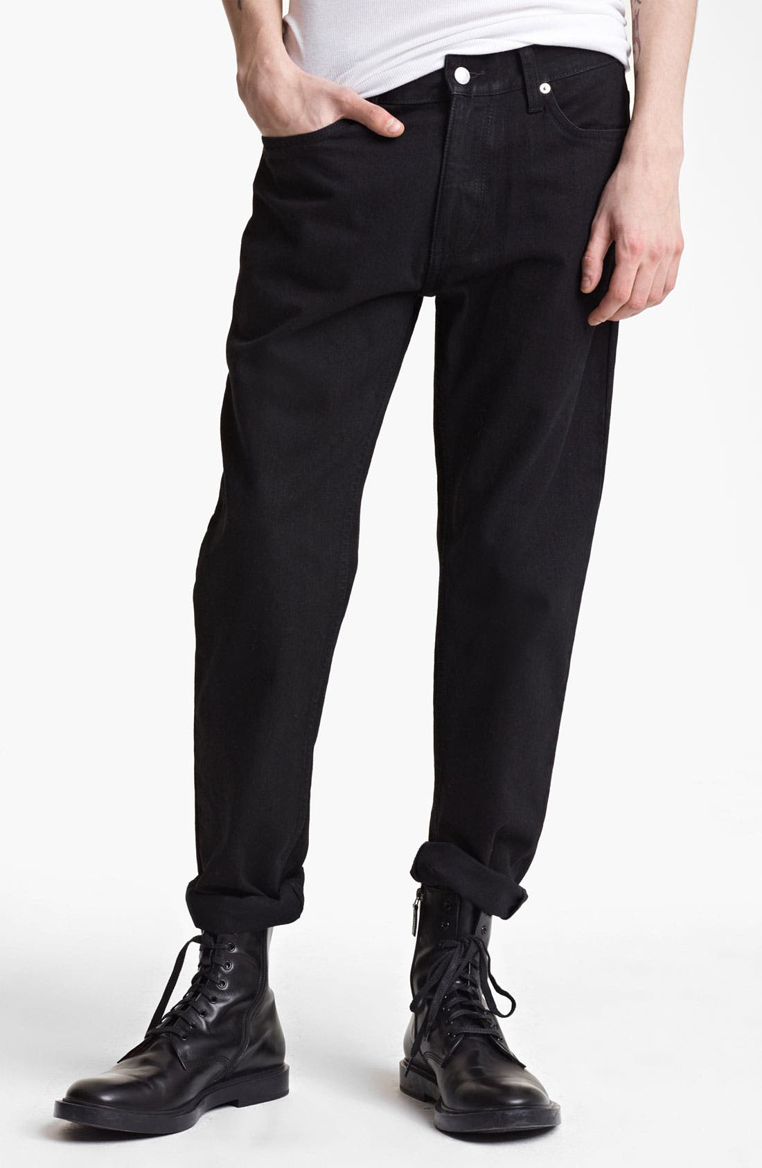Alternate Image 1 Selected - BLK DNM 'Jeans 5' Slim Straight Coated Denim Jeans (Jet Black)