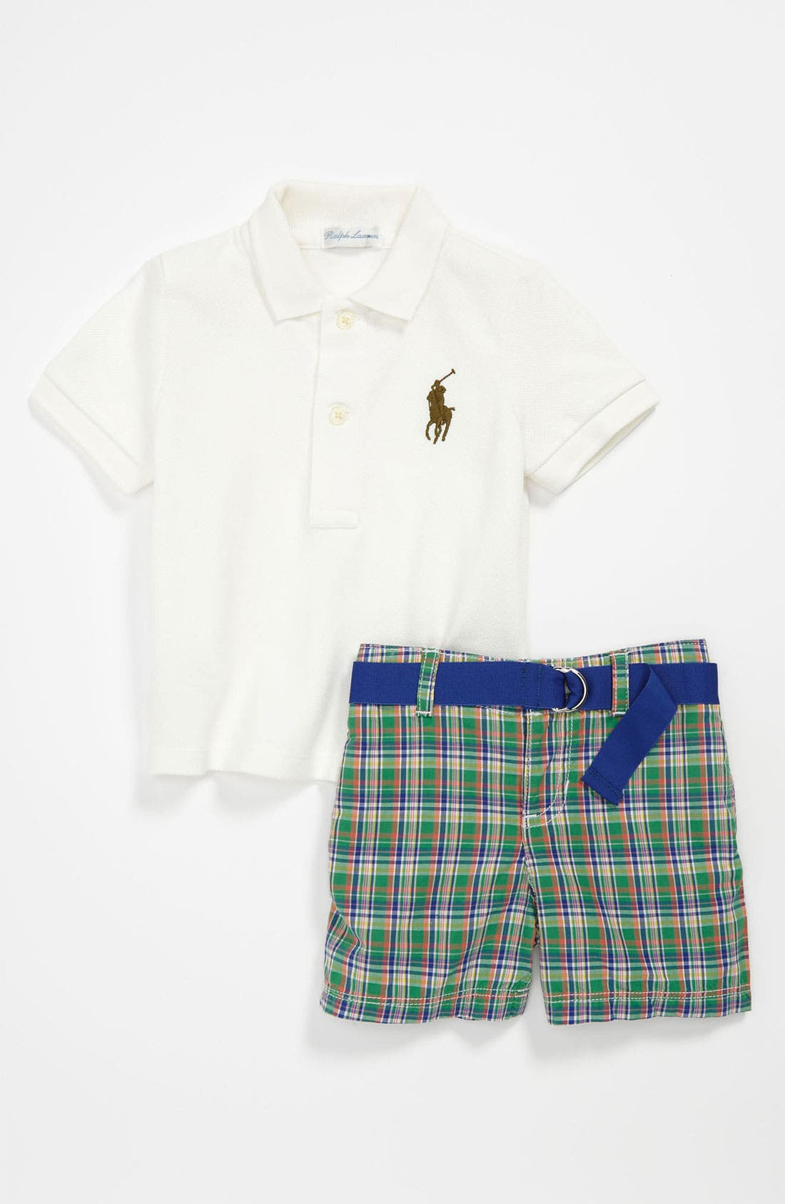 Alternate Image 1 Selected - Ralph Lauren Rugby Polo & Shorts (Infant)