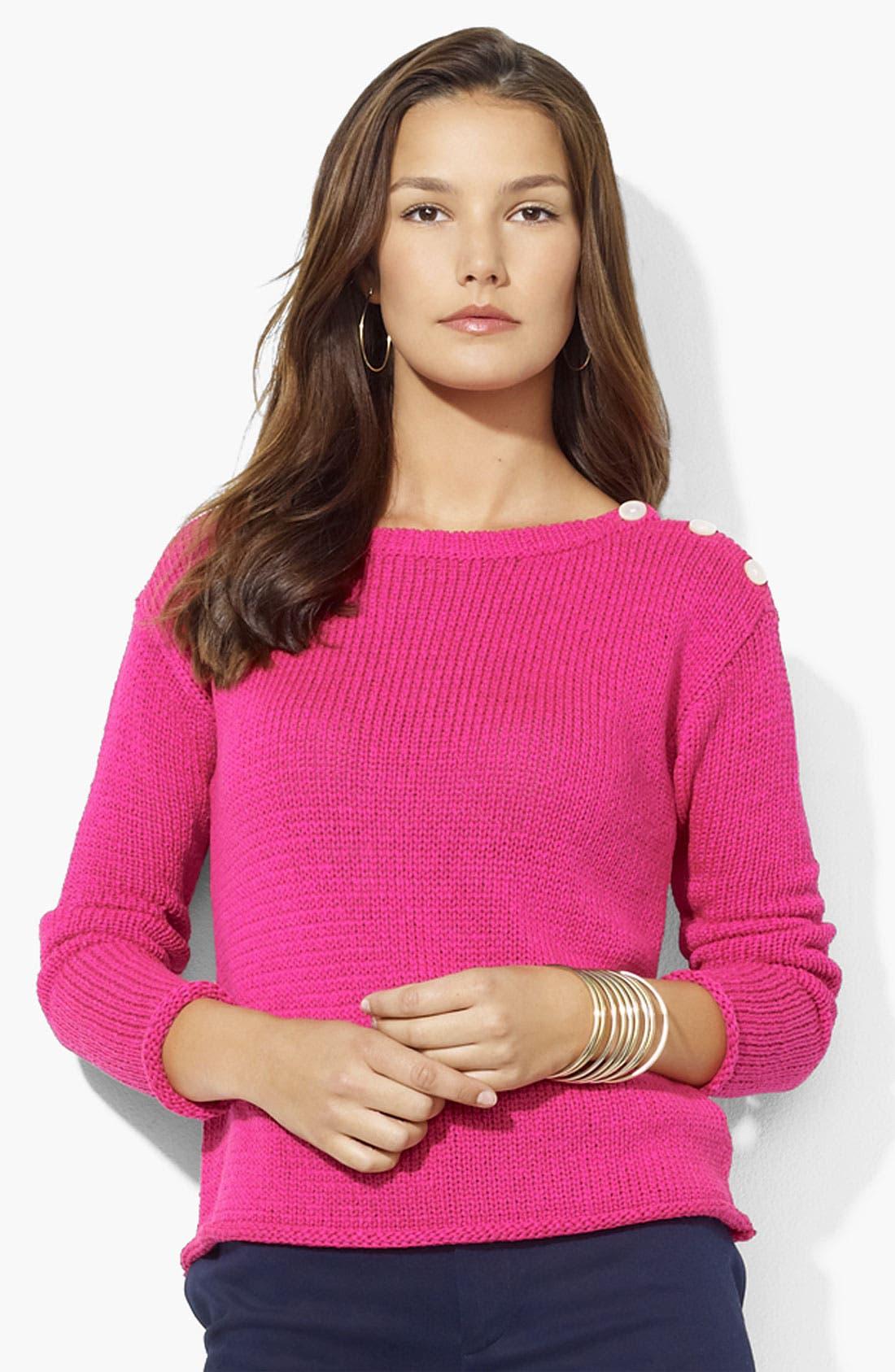 Alternate Image 1 Selected - Lauren Ralph Lauren Button Shoulder Sweater
