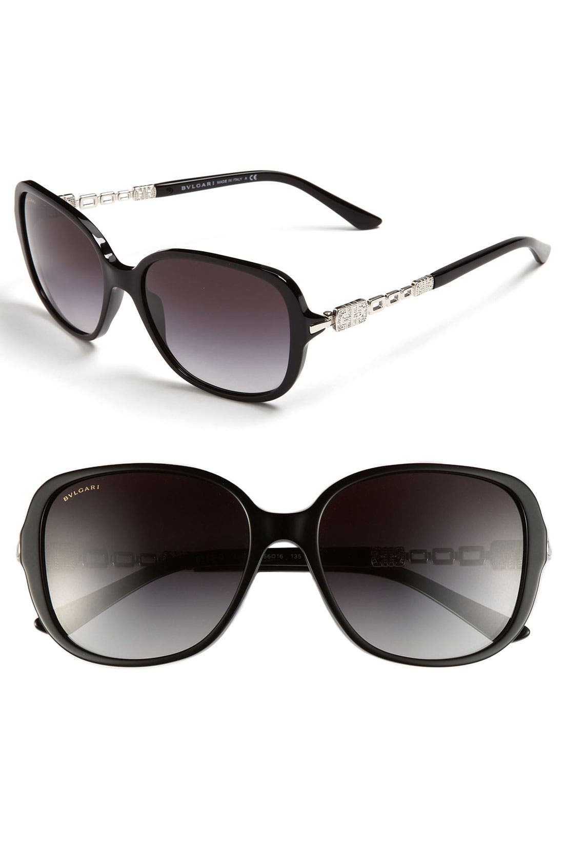 Alternate Image 1 Selected - BVLGARI 56mm Crystal Chain Temple Sunglasses