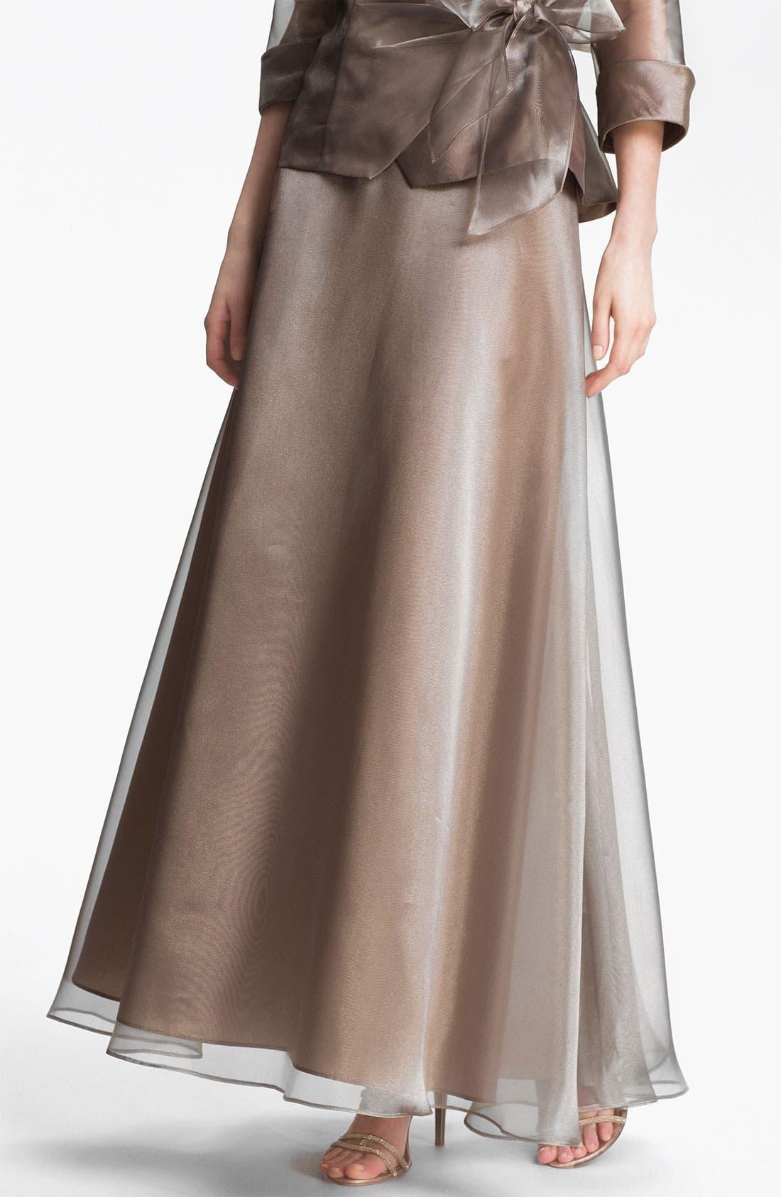 Main Image - Alex Evenings Metallic Organza Flare Skirt