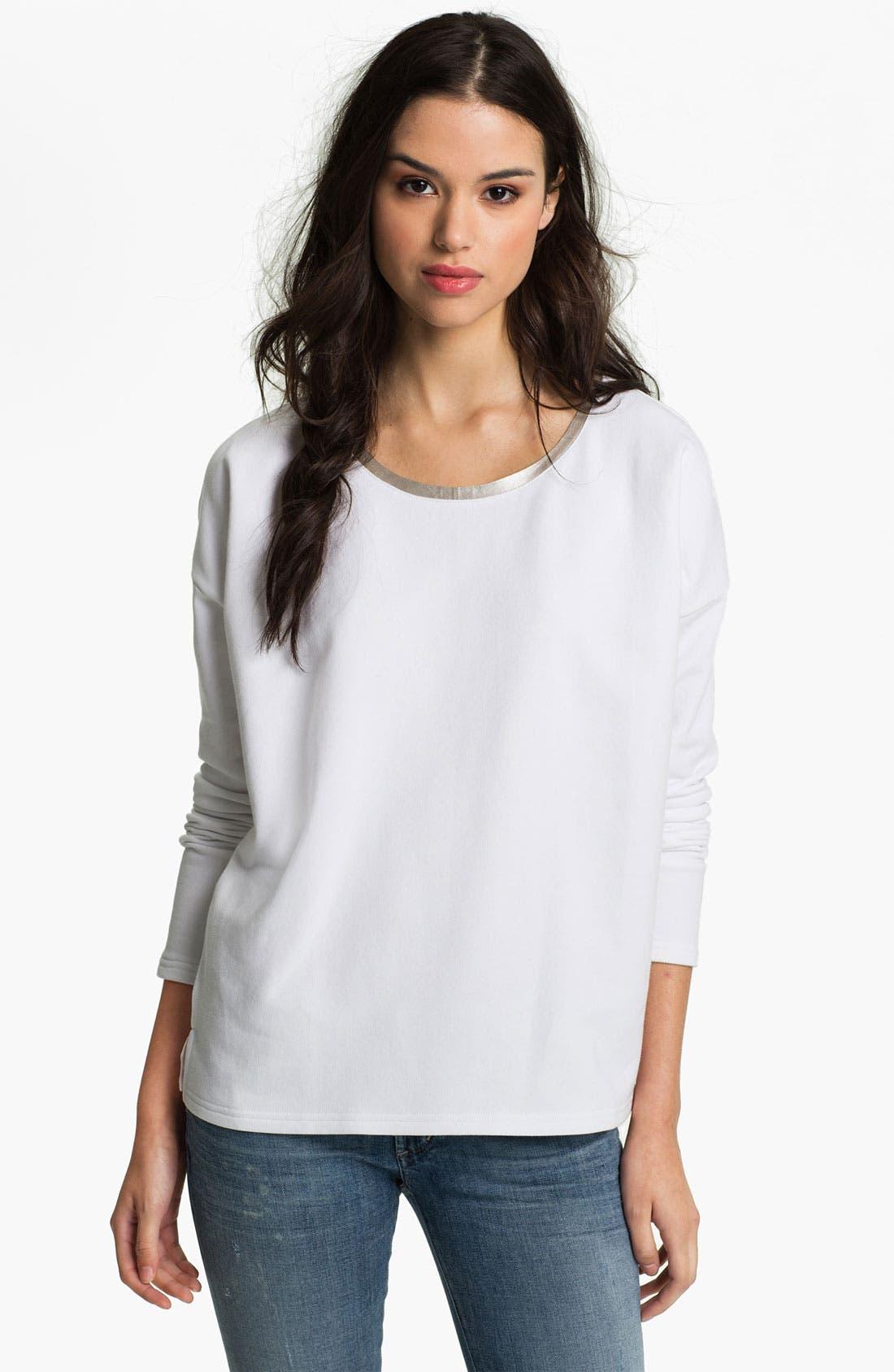 Main Image - Trouvé Metallic Trim Mixed Media Sweatshirt