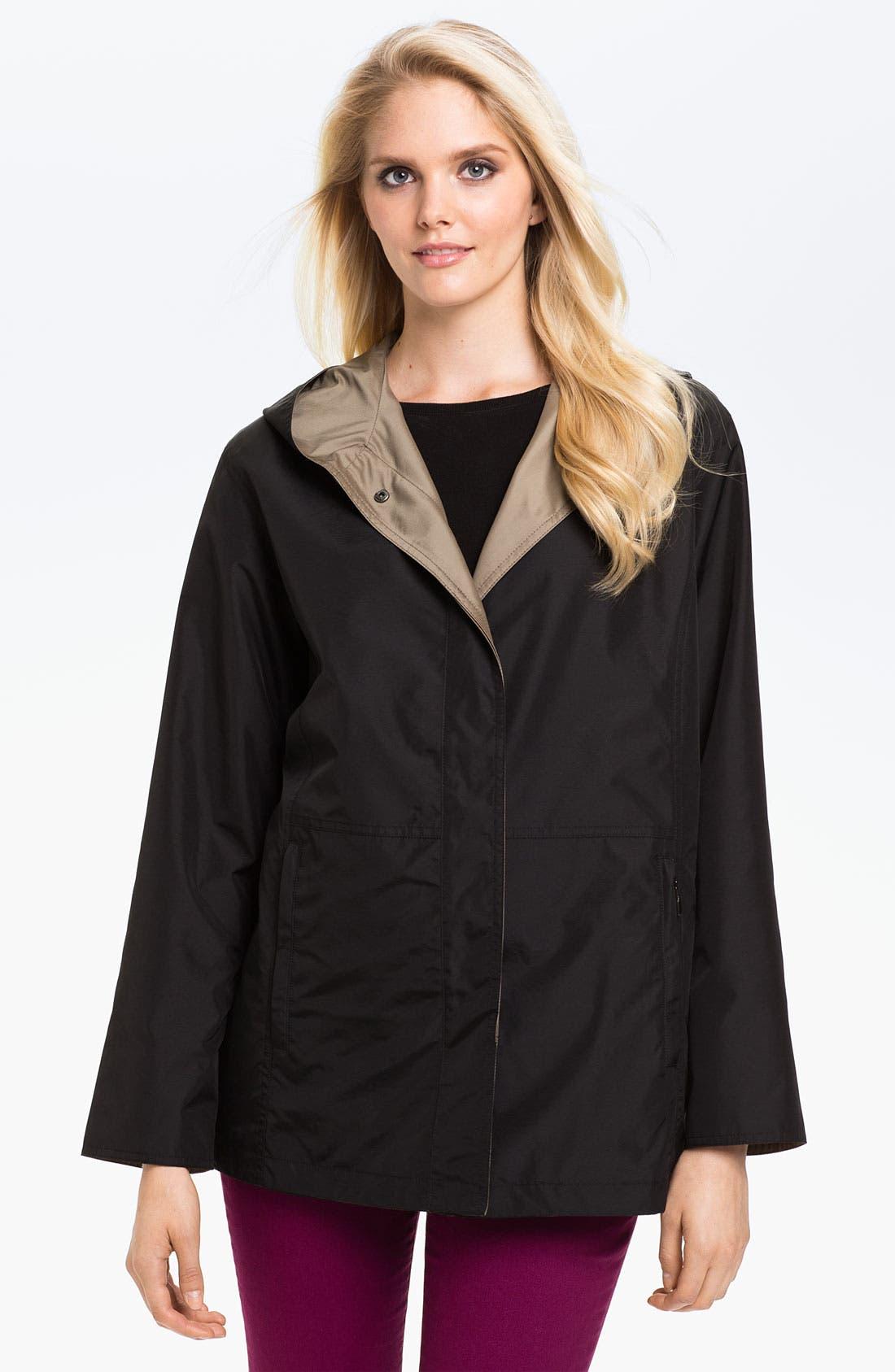 Alternate Image 1 Selected - Gallery Reversible Hooded Raincoat (Petite)